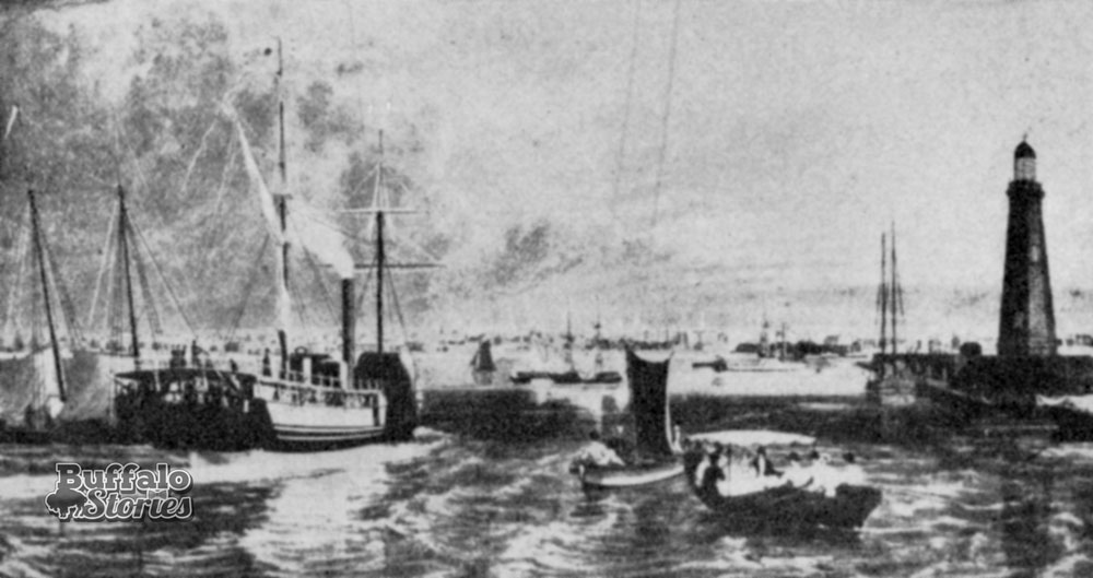 Buffalo from Lake Erie, including the lighthouse, 1823
