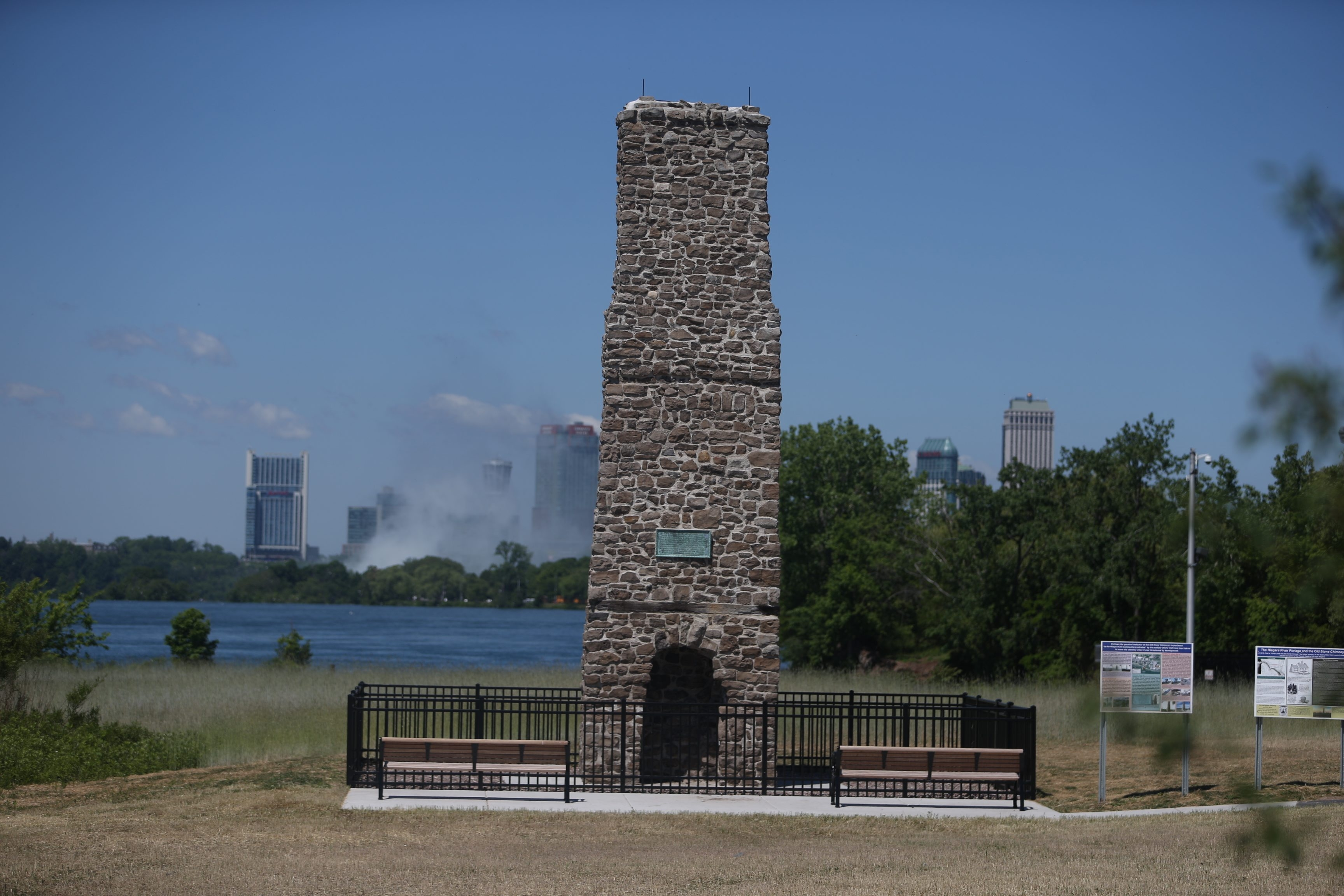 The Old Stone Chimney, built in 1750 by the French in Niagara Falls, N.Y., was moved in 2015 to a new site between the Niagara Scenic Parkway and the Niagara River. It was rededicated on June 10, 2016.  (John Hickey/Buffalo News)