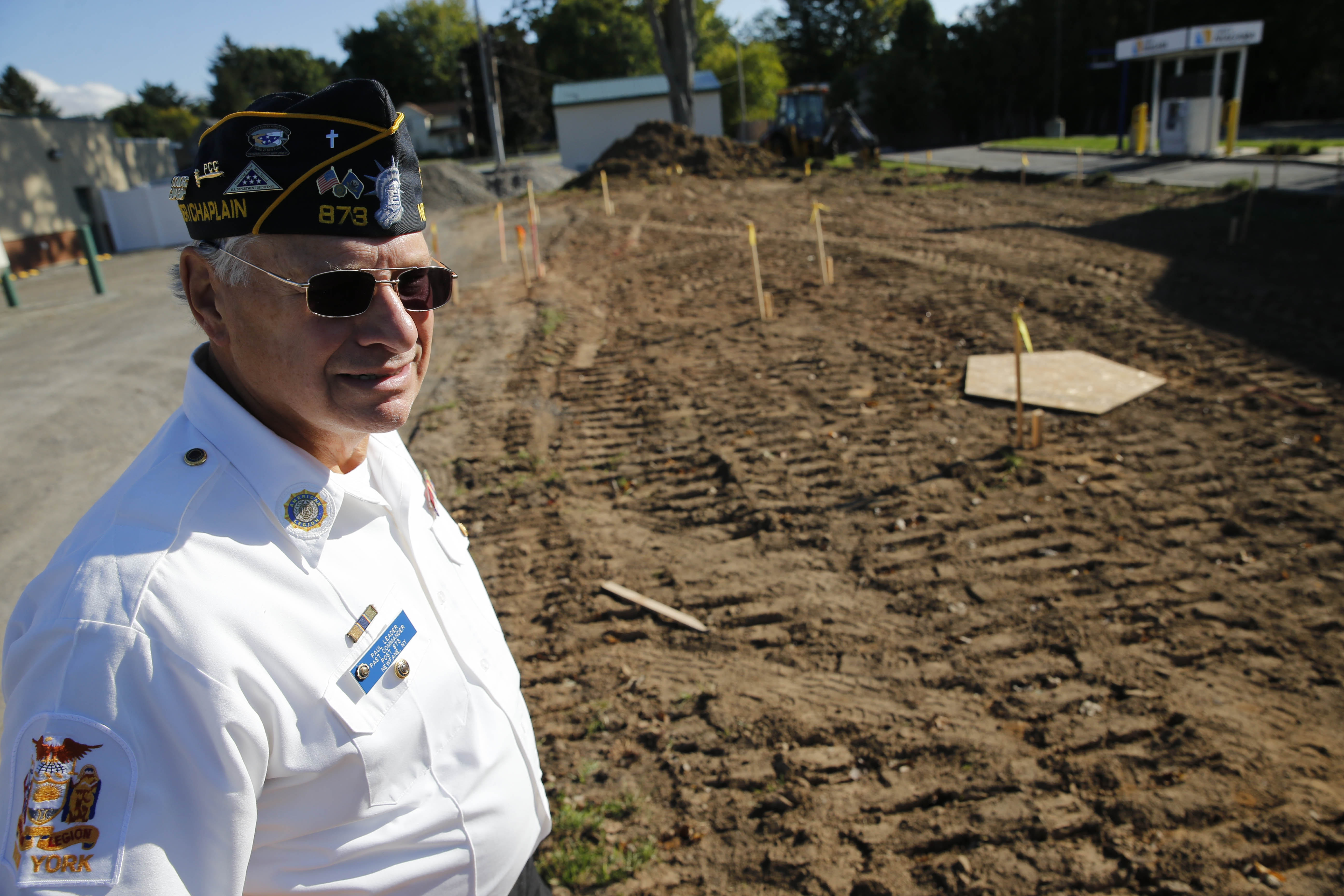 Paul Leader, past commander of the American Legion Post 873, looks over the new veterans park under construction next to Newfane Town Hall on Main Street in Newfane.