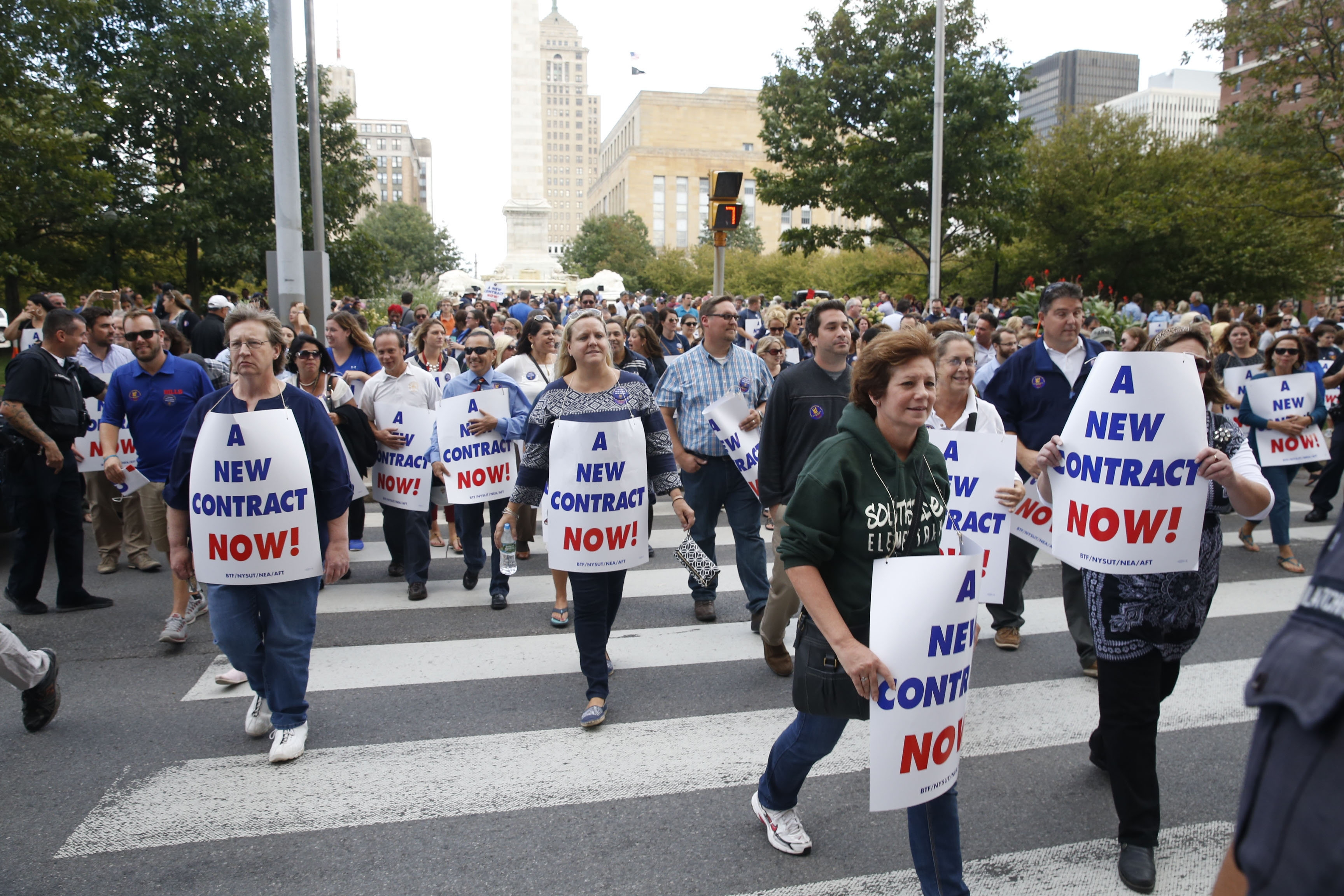 Teachers, who demonstrated in Niagara Square two weeks ago, deserve a new contract, but agreement should not hinge on an increase in state aid. (Robert Kirkham/Buffalo News)