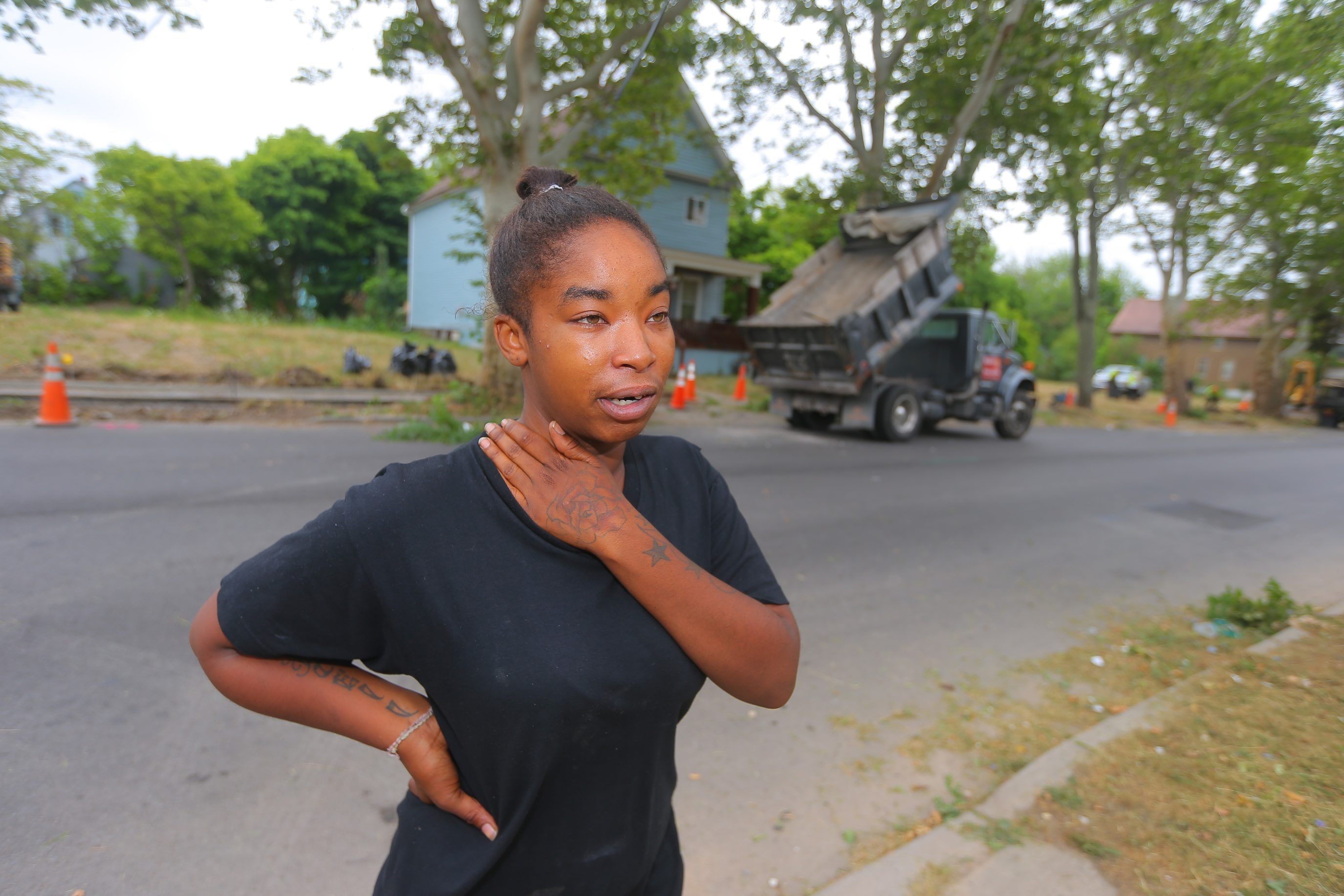 Shannon Anderson, whose 7-month-old daughter was struck and killed in June, said repairs to unnavigable sidewalks on Moselle were a bittersweet victory.  (John Hickey/Buffalo News file photo)