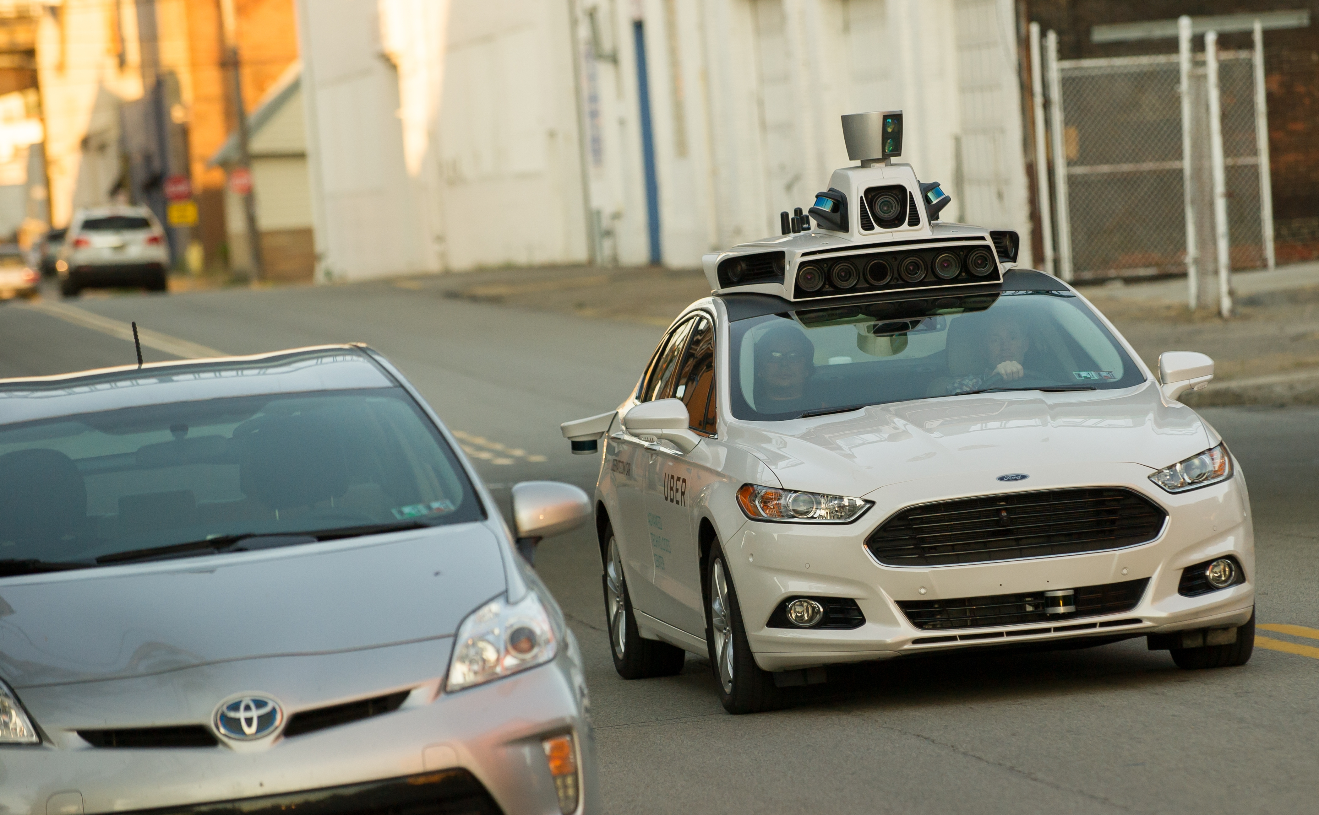 Uber is testing driverless cars, including this Ford Fusion, on the streets of Pittsburgh. (Getty Images)