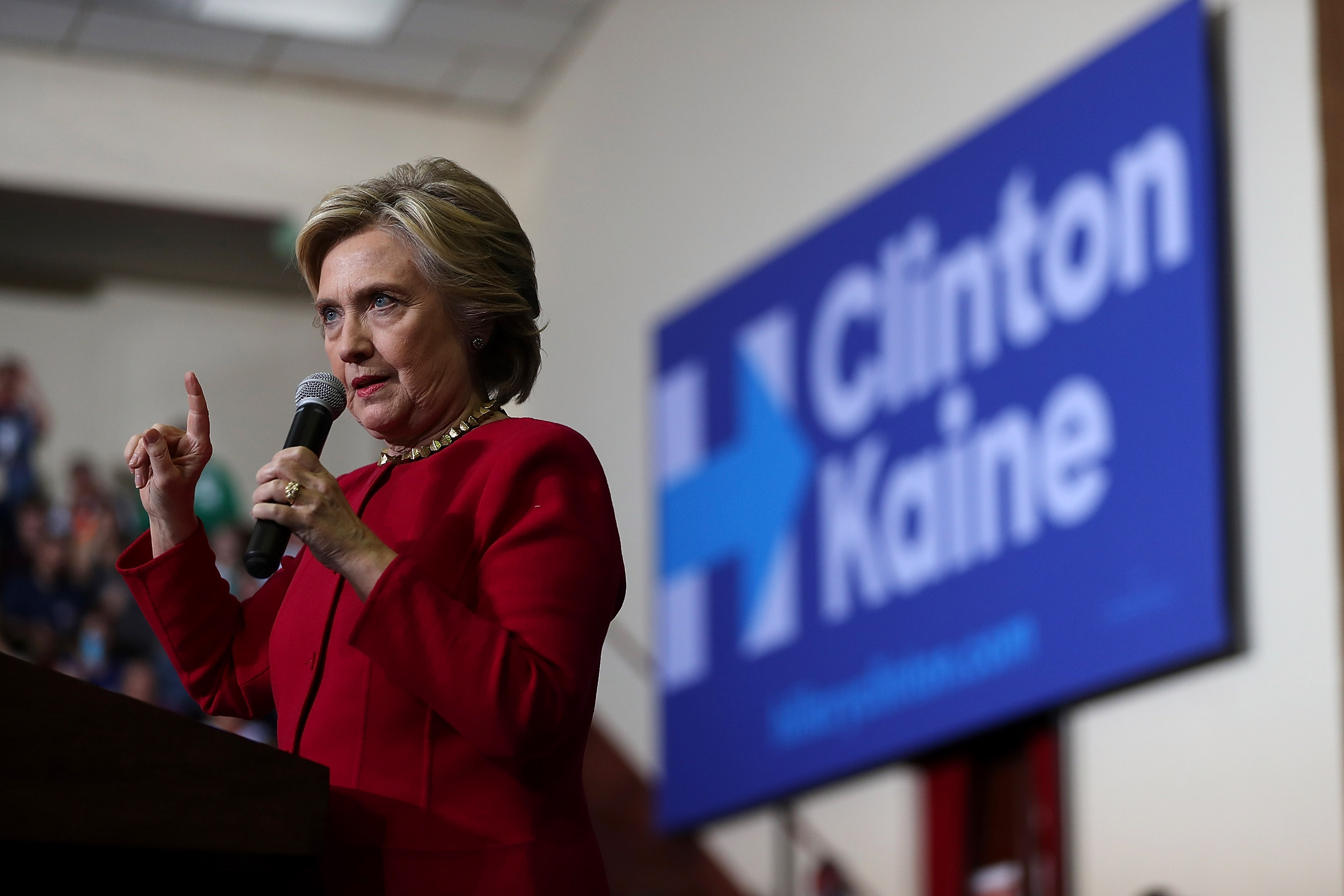 Democratic presidential nominee Hillary Clinton speaks during a campaign event in Harrisburg, Pa. (Getty Images)