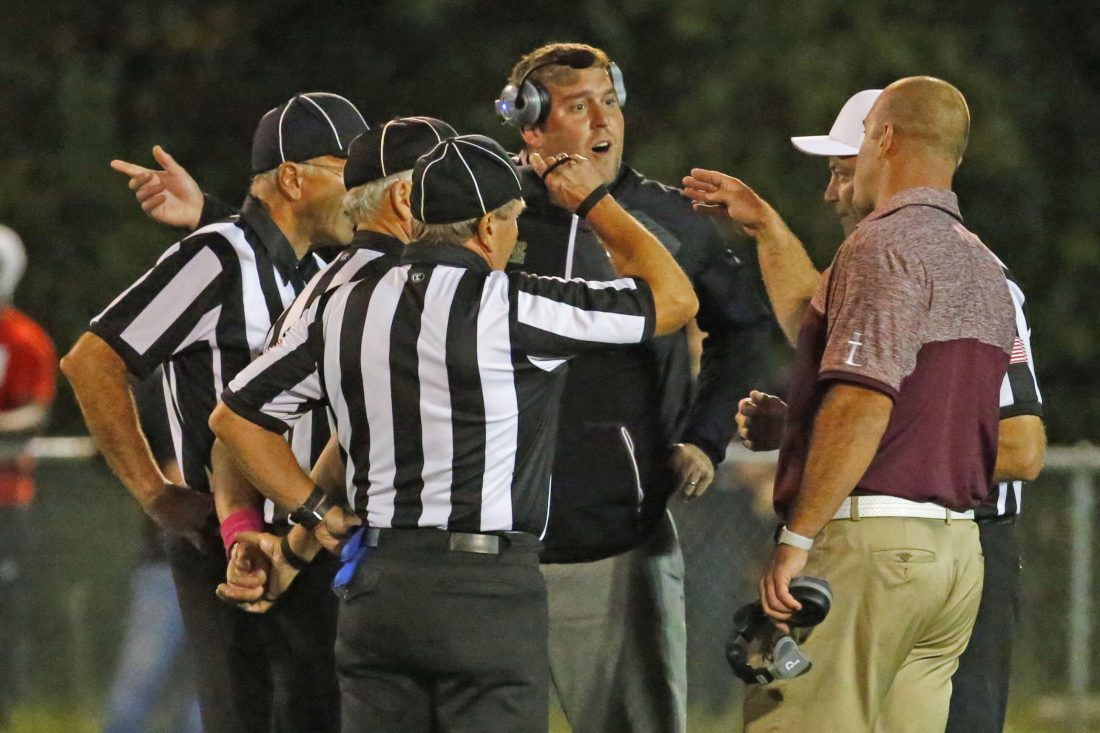 Timon football coach and athletic director Charlie Comerford and St. Joe's Derek Landri, right, could learn Tuesday the results of their schools' appeals aplications in wake of disciplined doled out from the team's Oct. 7 brawl-shortened contest that was later ruled a double forfeit b the league. (Harry Scull Jr./Buffalo News)