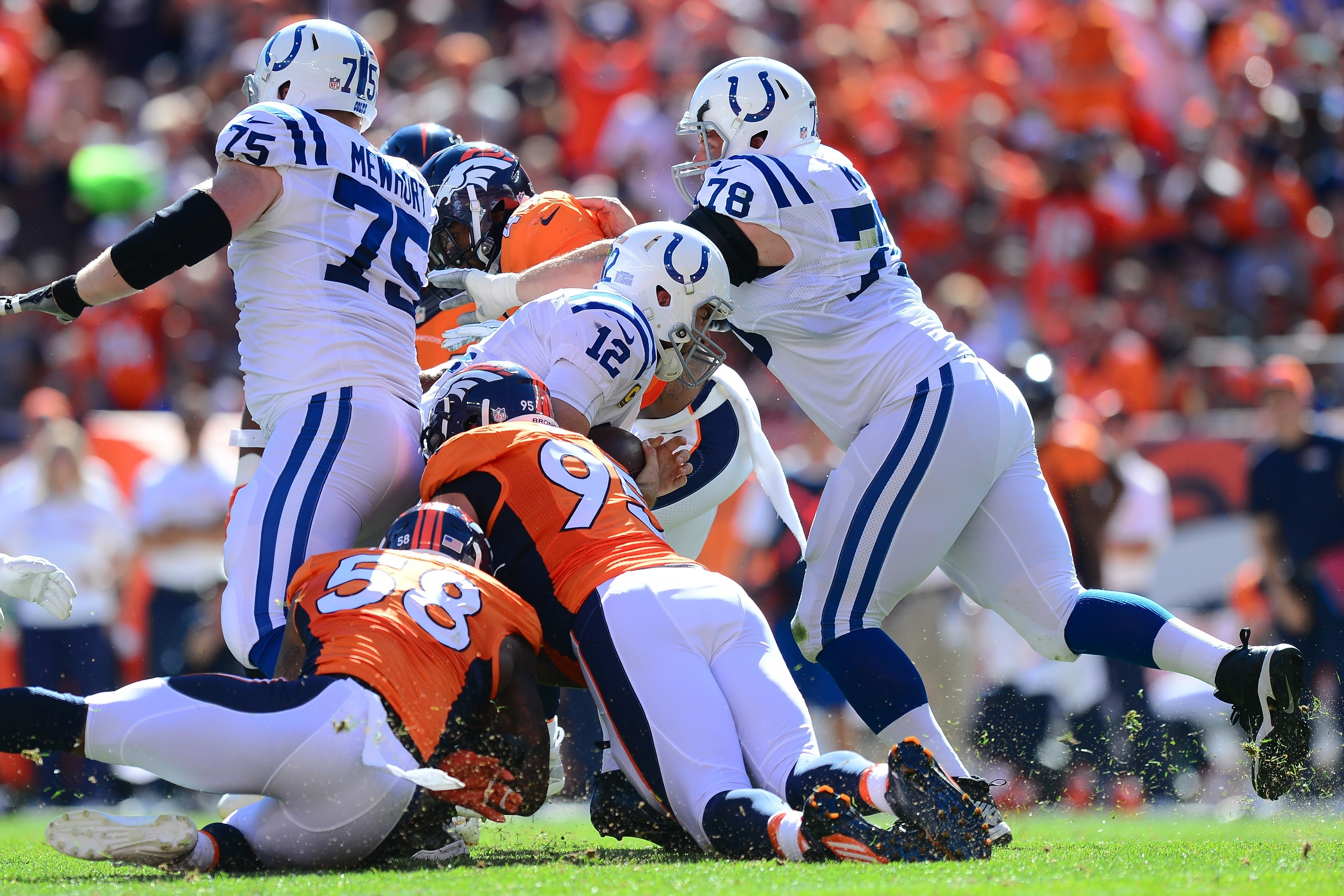 NFL sack leader Von Miller (No. 58) and defensive end Derek Wolfe made sure Indianapolis Colts quarterback Andrew Luck was going nowhere in the Broncos' 34-20 home victory in Week Two.