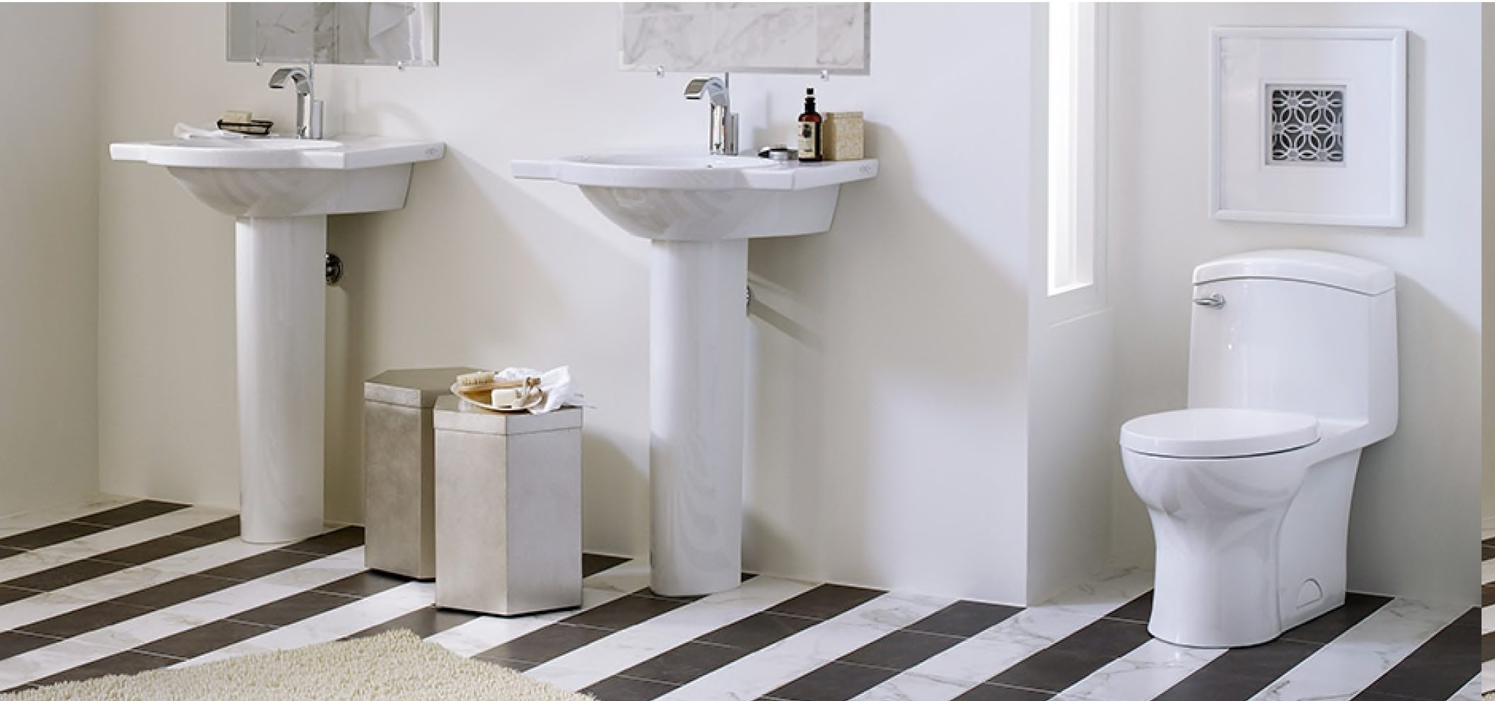 Image from the American Standard catalog promoting its Roycroft Collection of toilet, sinks.
