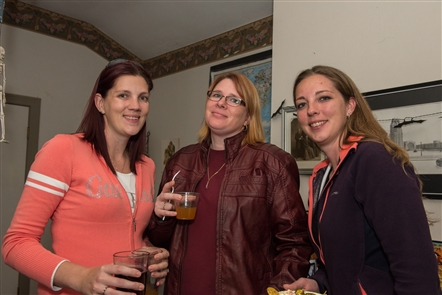 Smiles at the Spooky Wine and Beer Happy Hour at the Iron Island Museum