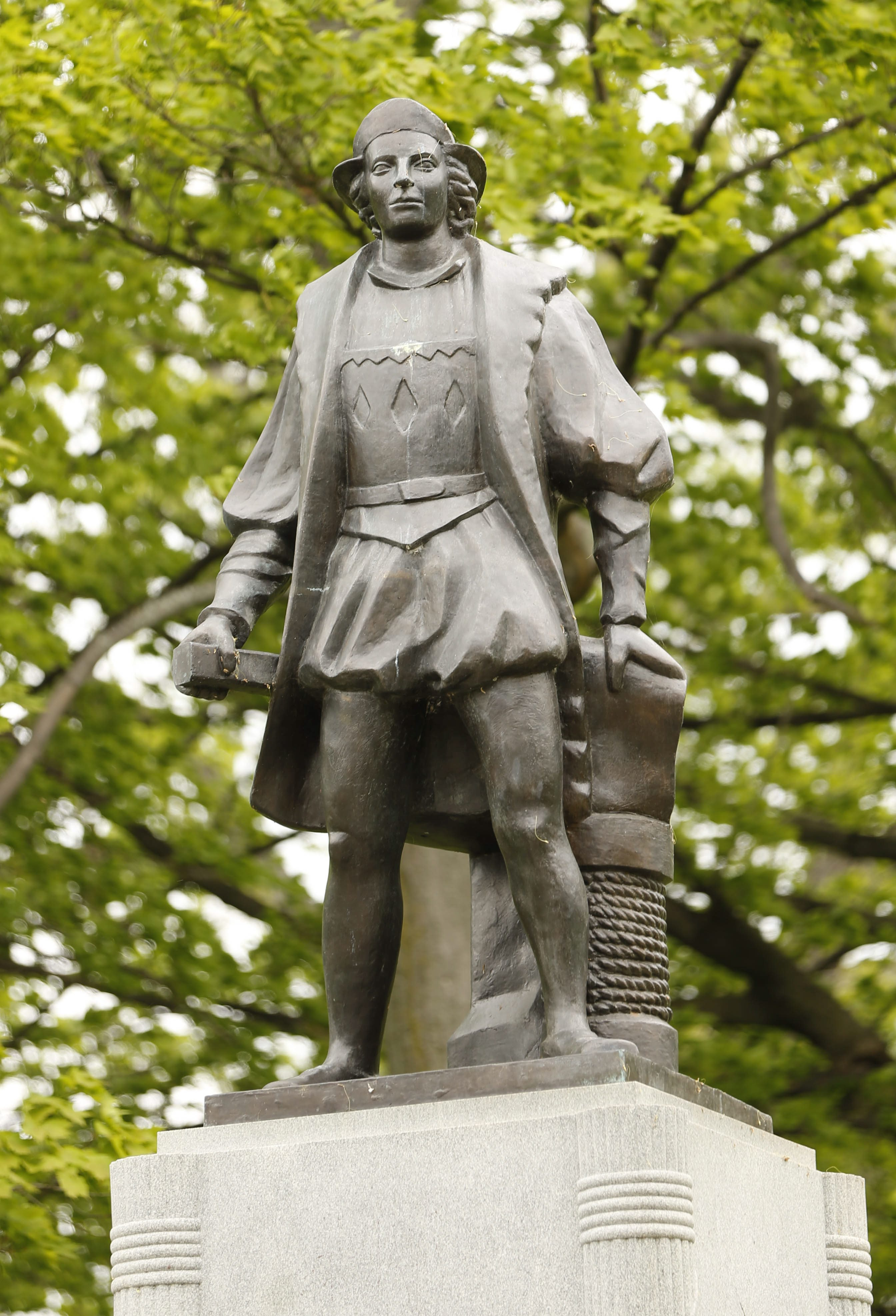 A statue of Christopher Columbus in Columbus Park in Buffalo on May 19, 2015.  (Derek Gee/Buffalo News/File photo)