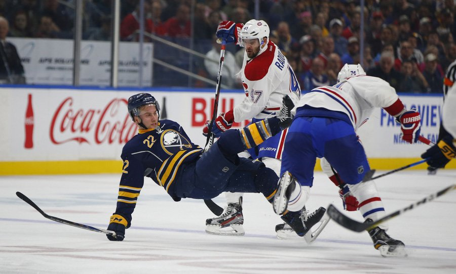 Johan Larsson and the Sabres fell in their opener against Montreal. (Photo by Harry Scull Jr./Buffalo News)