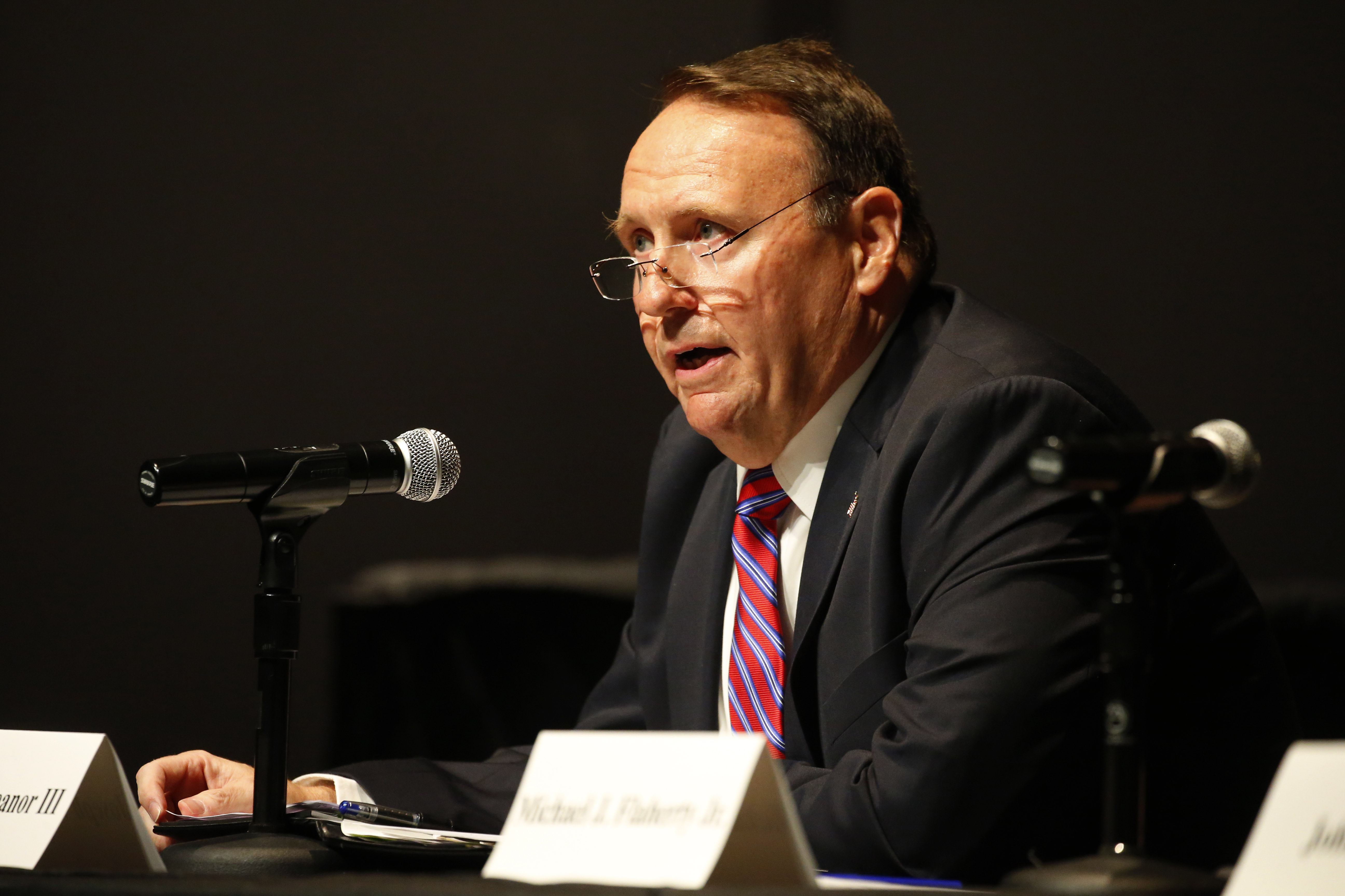 Candidates Joseph V. Treanor III, speaks during the debate for District Attorney at the Burchfield Penny Arts Center in Buffalo Thursday, August 24, 2016. (Mark Mulville/Buffalo News)
