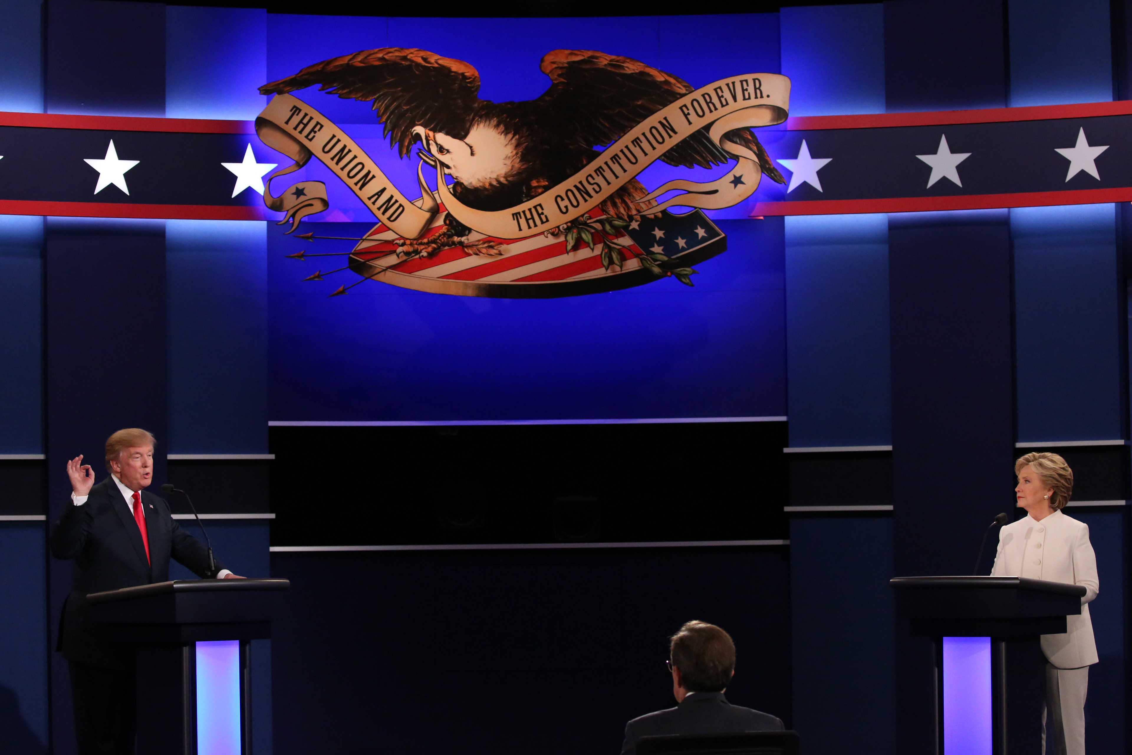 Hillary Clinton looks on as Donald Trump speaks during their presidential debate at the University of Nevada, Las Vegas, Oct. 19, 2016. (Damon Winter/The New York Times)
