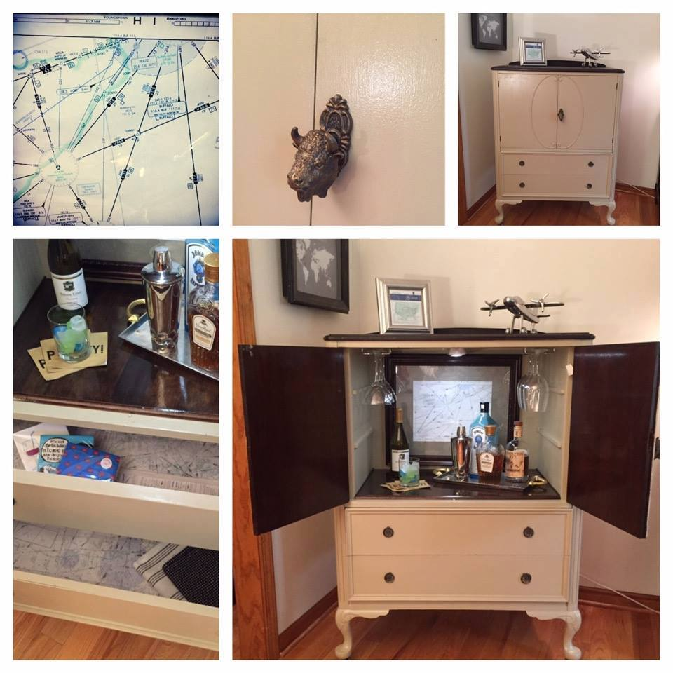 An image of an armoire turned bar from the Buffalo ReStore Facebook event page.