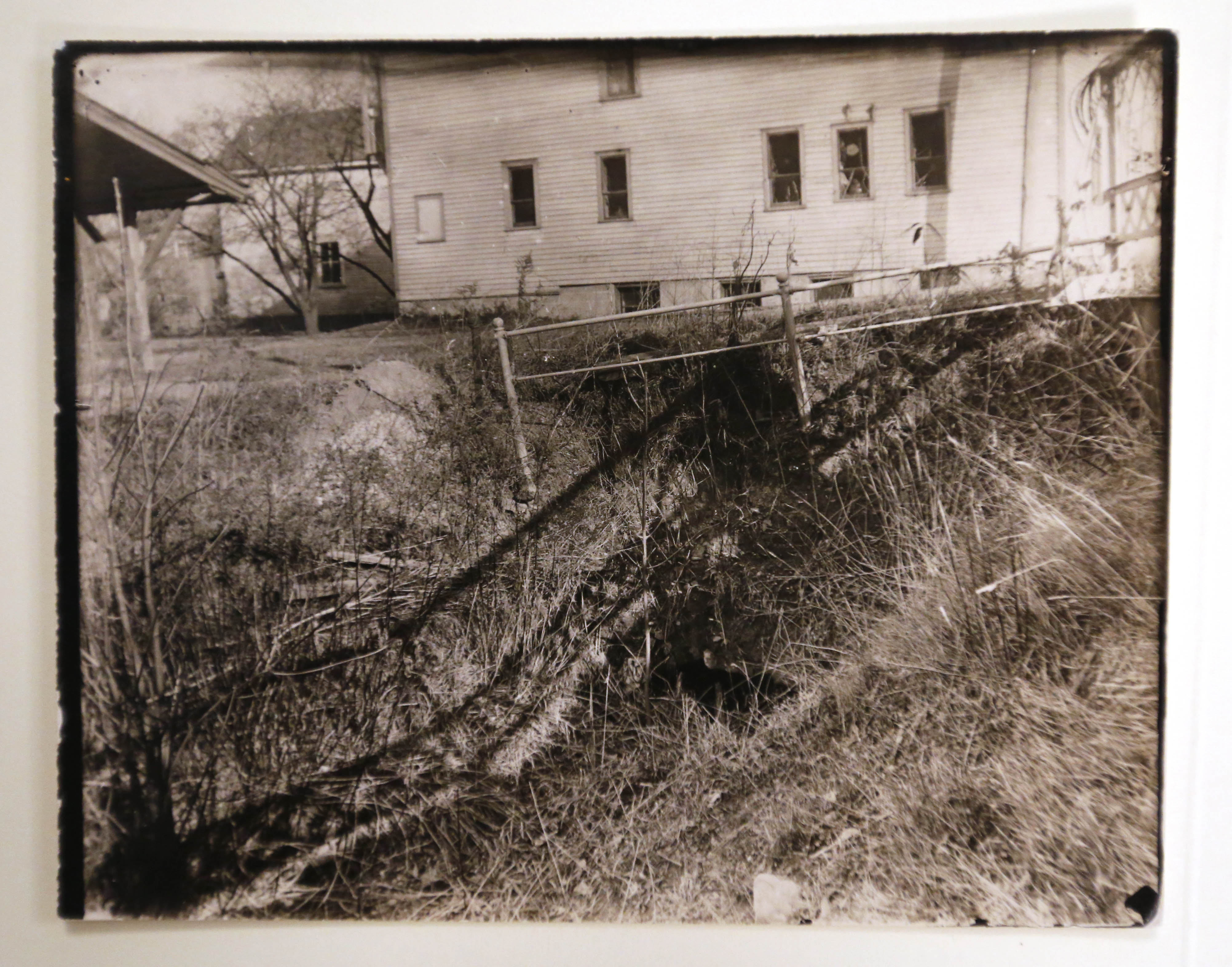 Historic photo of the site of the first commercial gas well in the United States, located on West  Main Street in Fredonia, N.Y.  (Courtesy of the Barker Historical Museum)