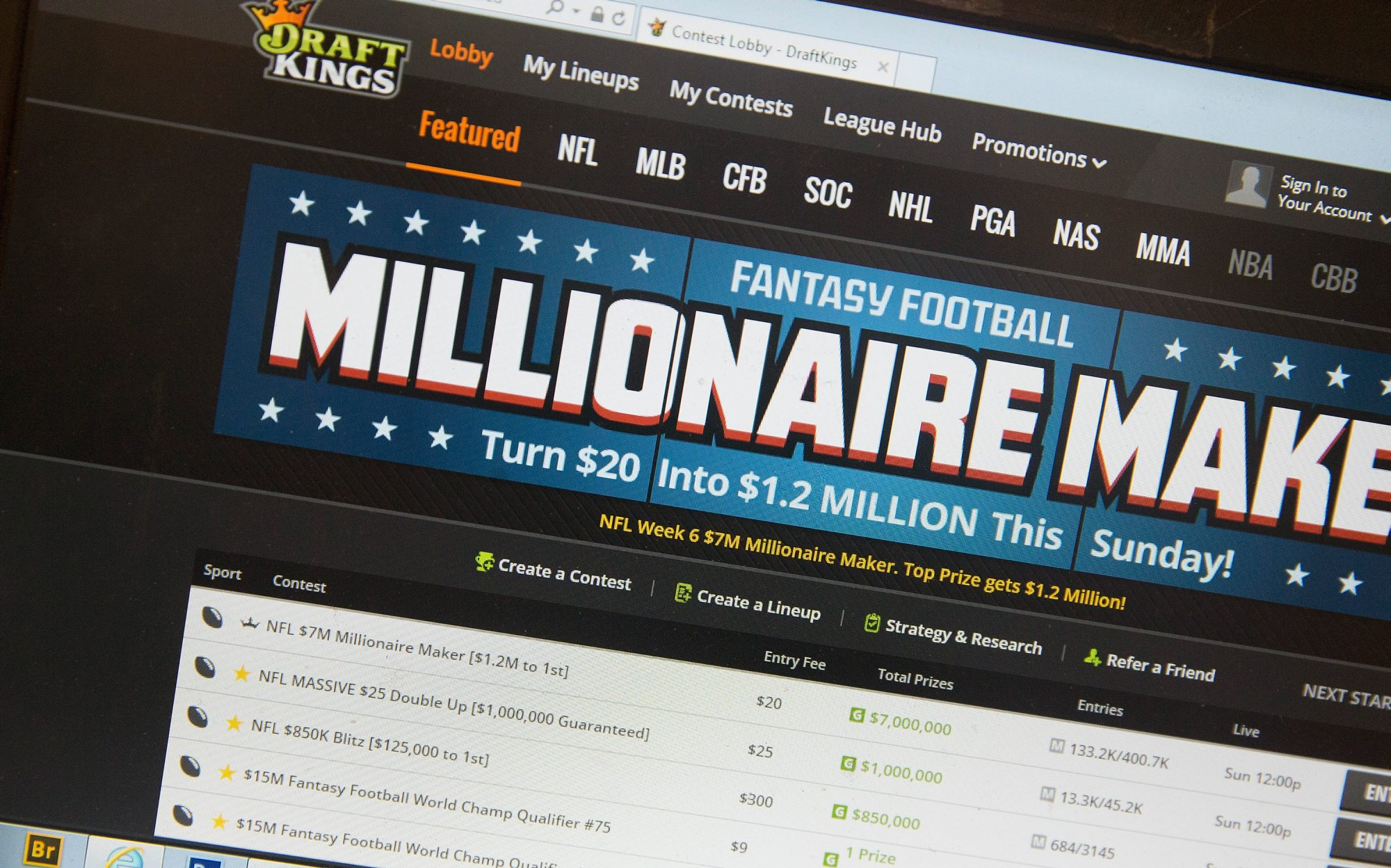 The fantasy sports website DraftKings. (Getty Images)