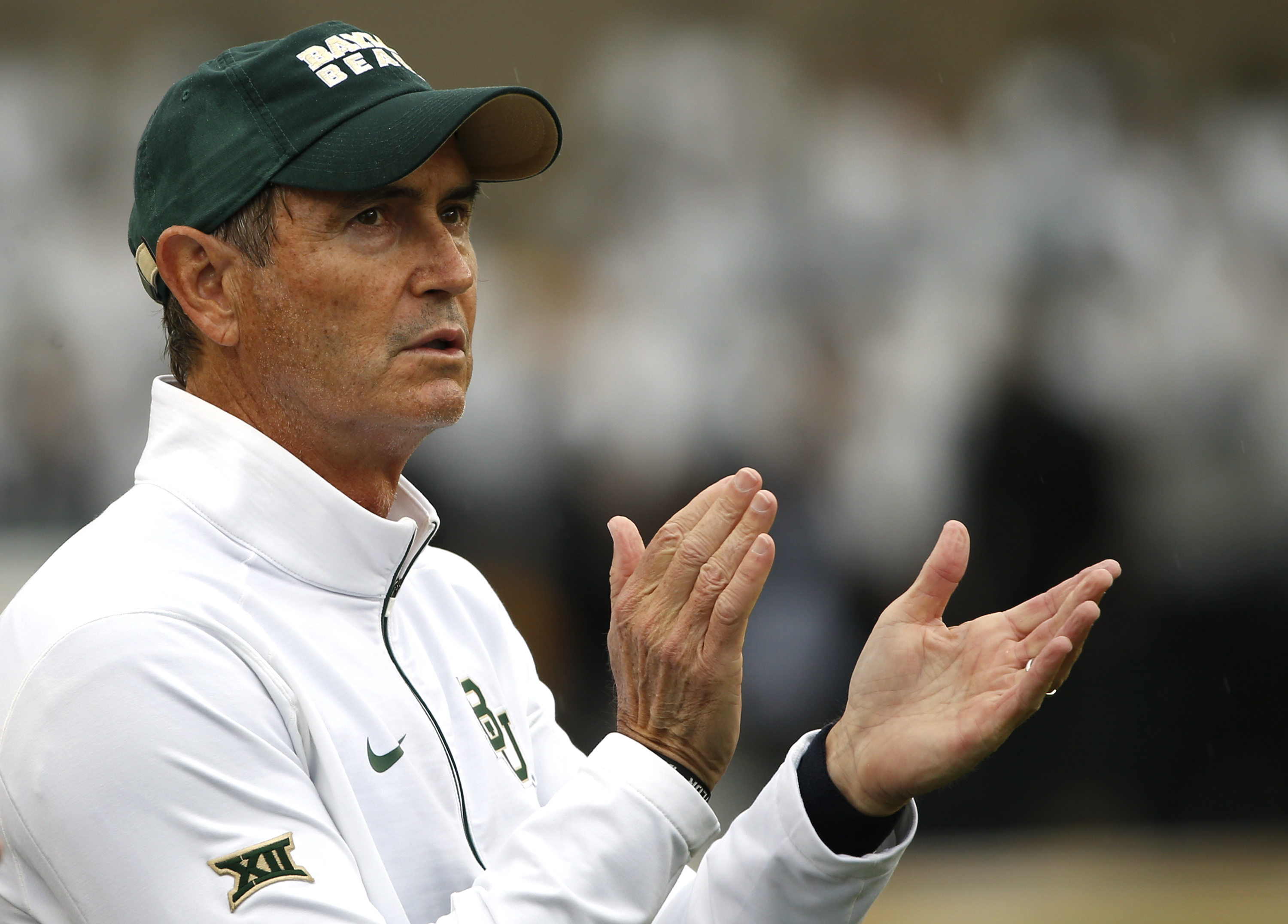 WACO, TX - OCTOBER 24: Baylor Bears head coach Art Briles applauds his team as the Bears take on the Iowa State Cyclones in the second half at McLane Stadium on October 24, 2015 in Waco, Texas. (Photo by Ron Jenkins/Getty Images)