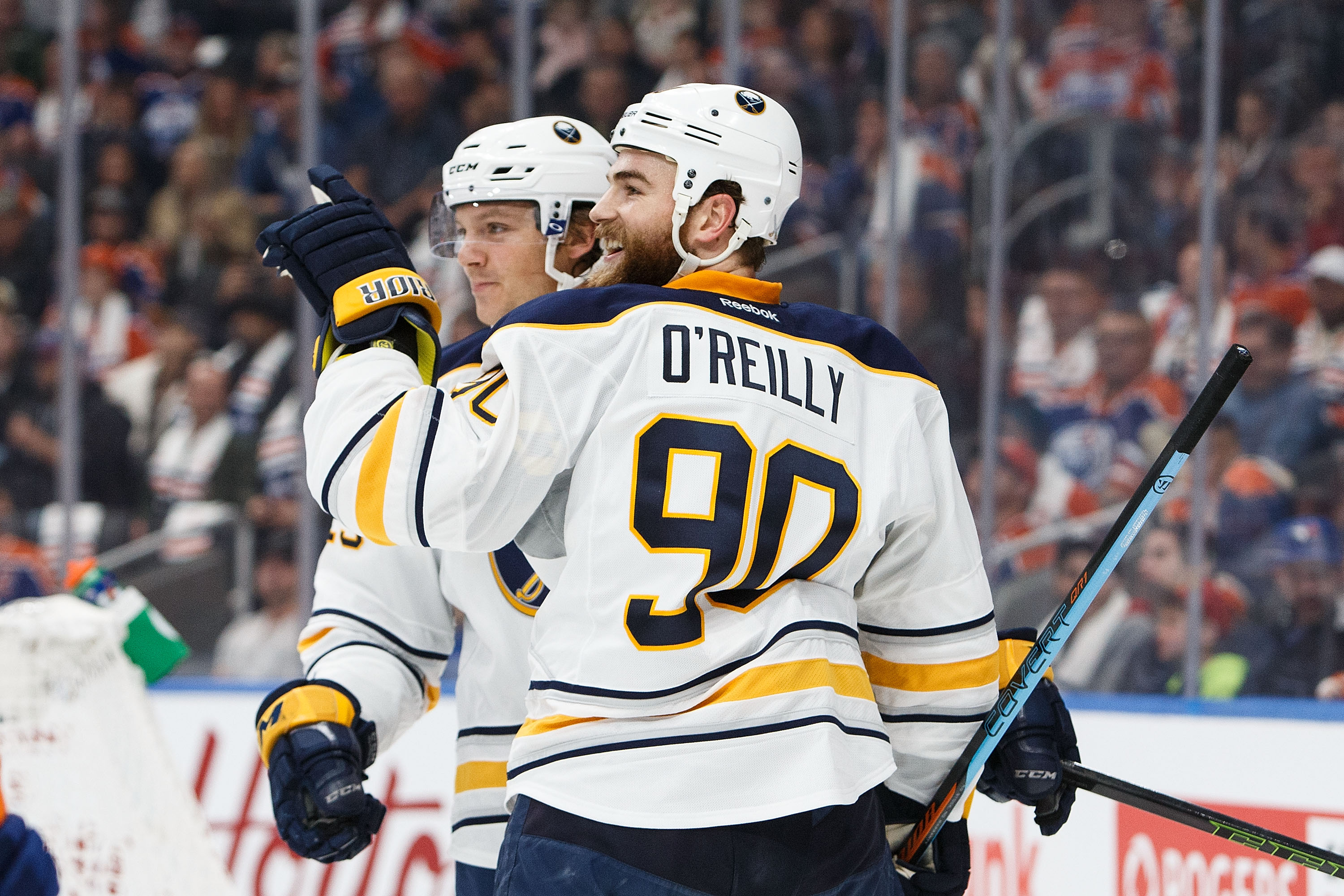 Ryan O'Reilly celebrates his first-period goal with Sam Reinhart (Getty Images).