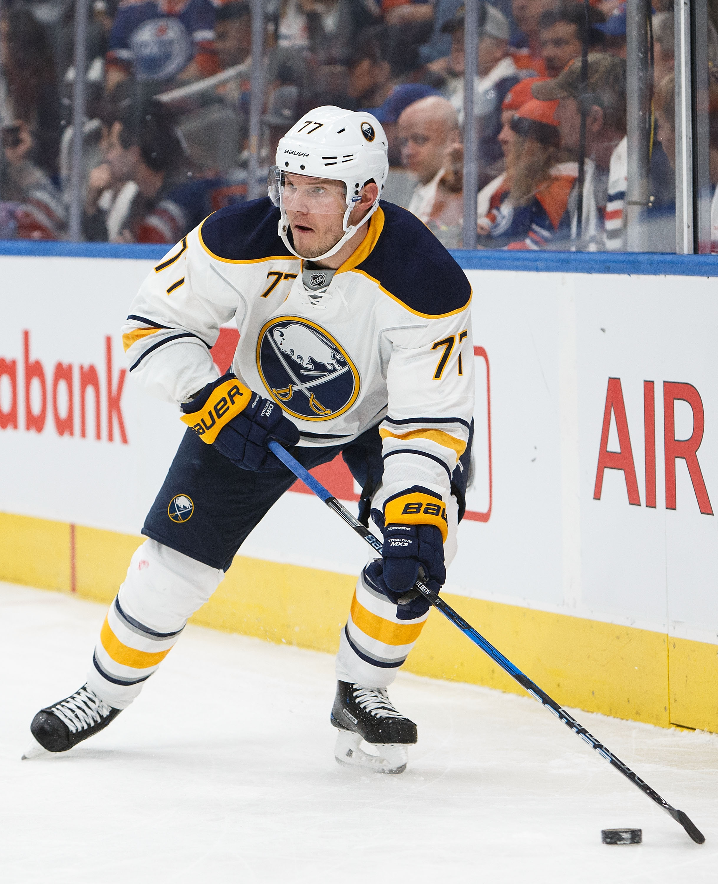 Dmitry Kulikov is feeling comfortable with Sabres and will get more ice time. (Photo by Codie McLachlan/Getty Images)