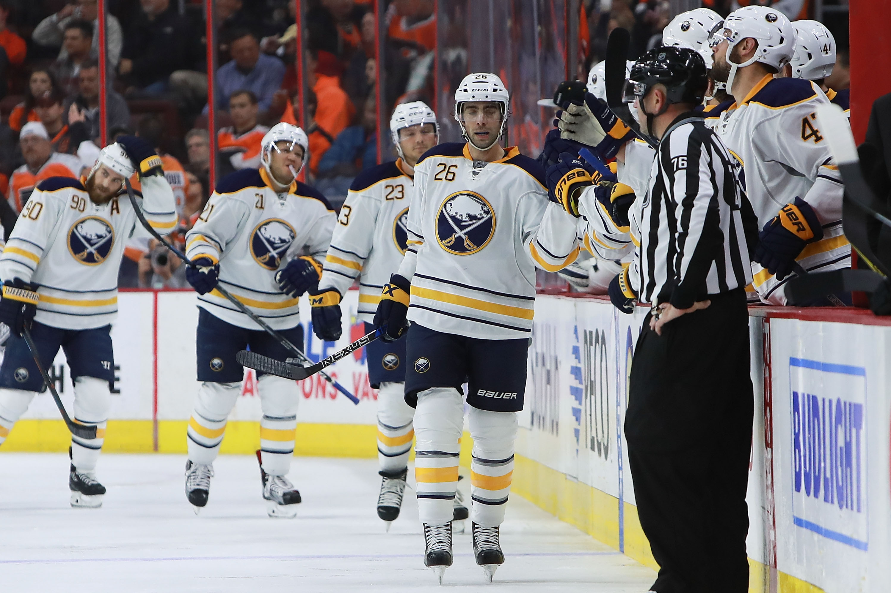 Matt Moulson scored twice to bring his goal total to a team-high four.  (Photo by Michael Reaves/Getty Images)