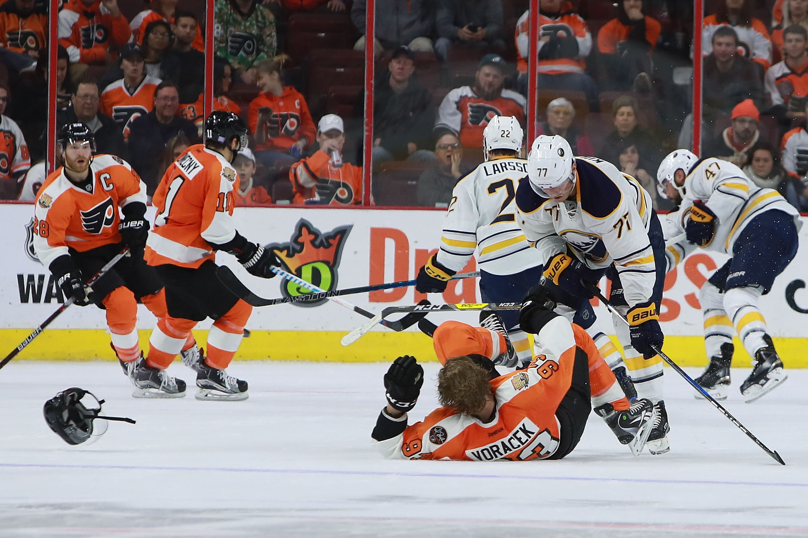 The Sabres' Dmitry Kulikov dropped Jakub Voracek with one of the game-changing penalties.  (Photo by Michael Reaves/Getty Images)