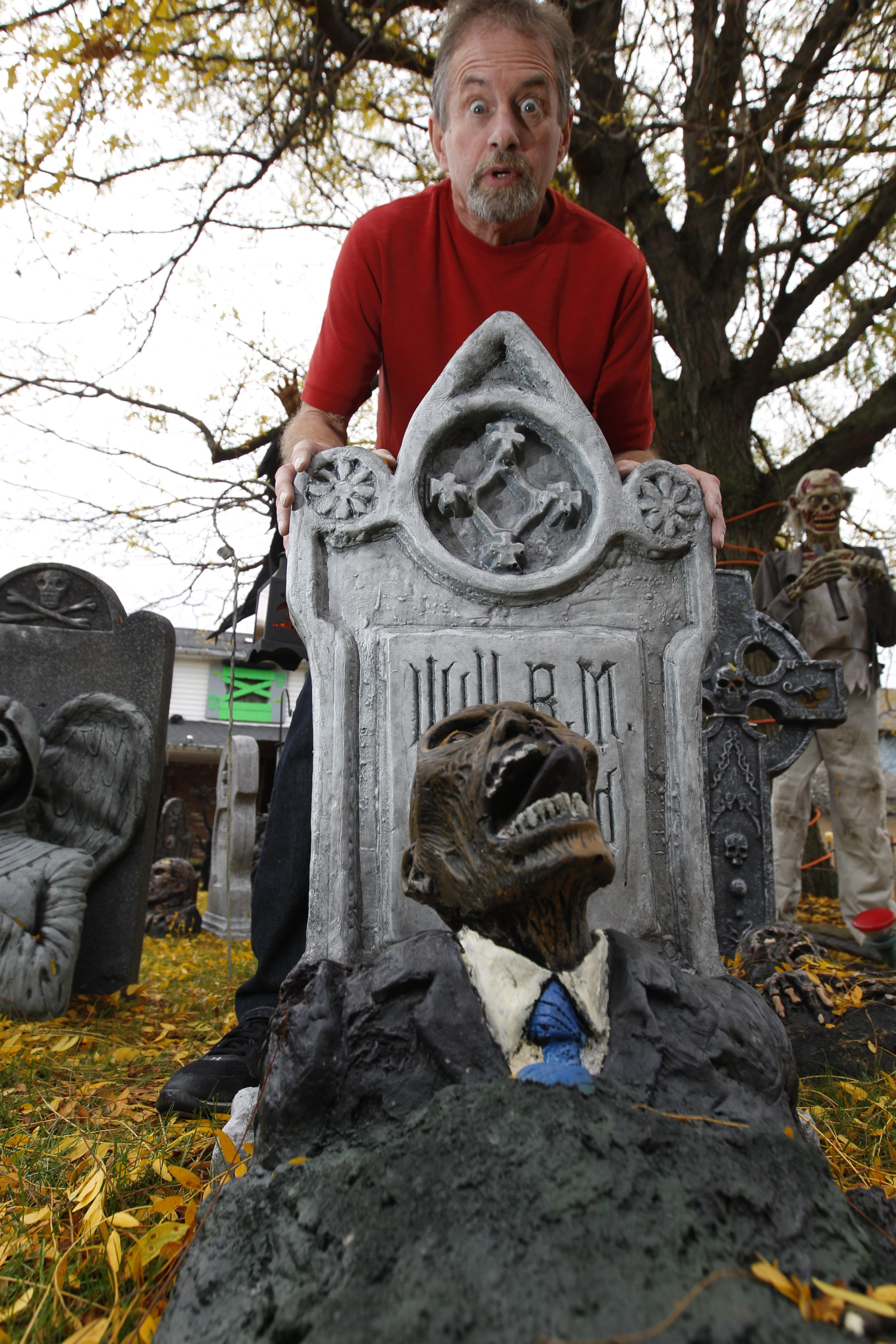 Gary Server, shown here in 2014, and his wife, Mary, put on a family-friendly haunted house ever two years. (Sharon Cantillon/Buffalo News)