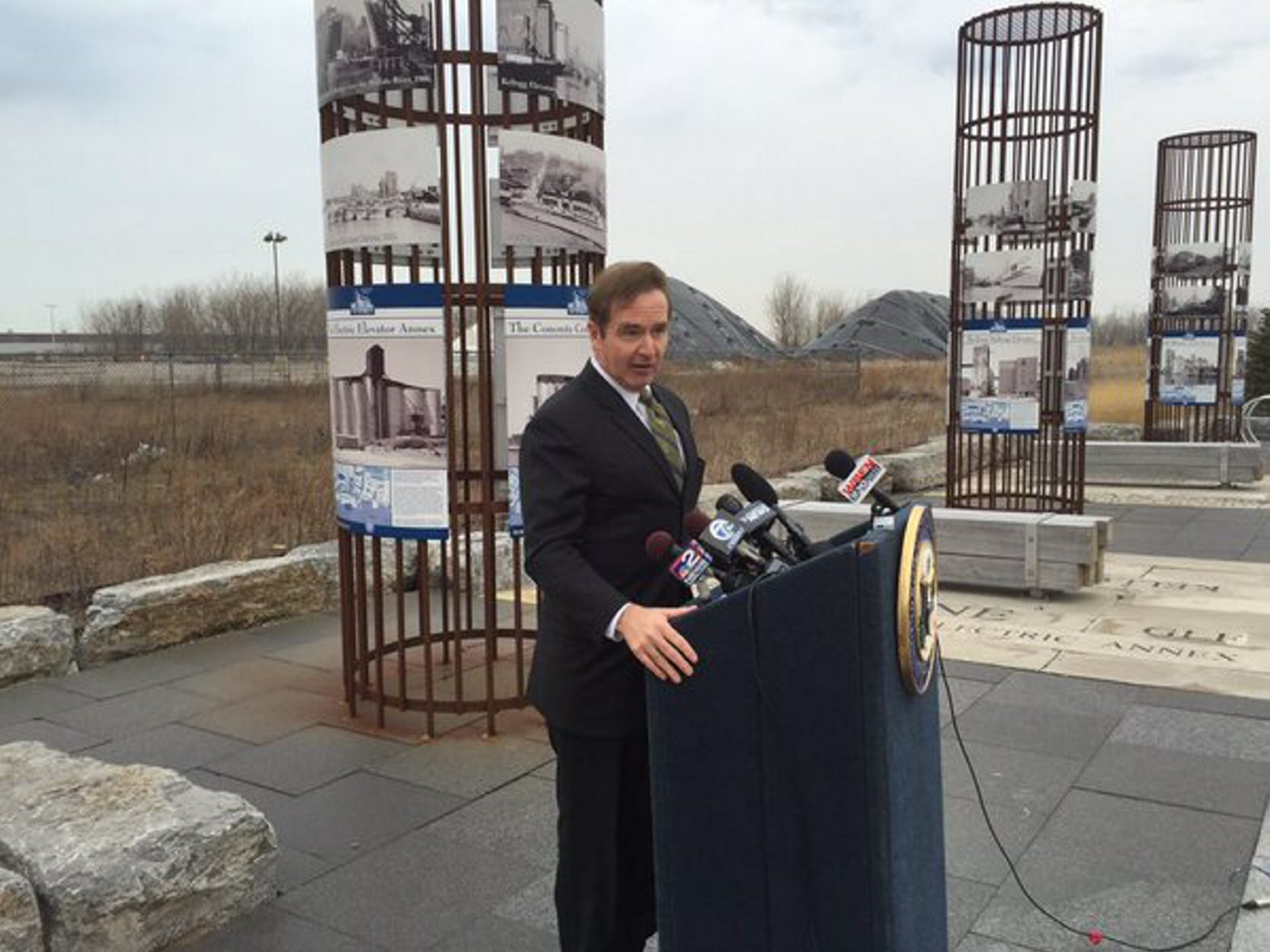 Rep. Brian Higgins speaks on the Outer Harbor. (News file photo)
