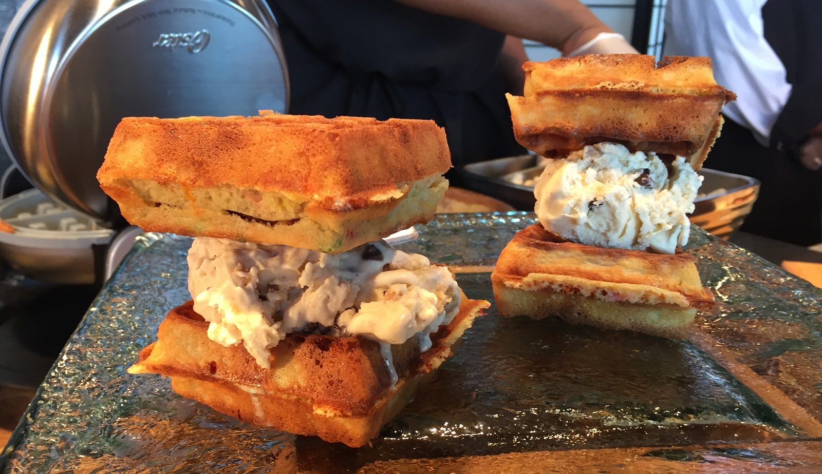 The Perry's Ice Cream waffle sandwich is among the highlights of new Sabres concessions fare. (Aaron Besecker/Buffalo News)