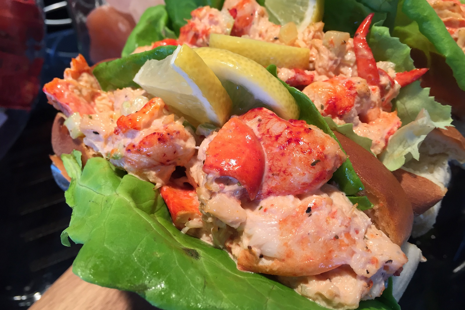 One of the new foods available in the suites is a lobster roll, made with lobster salad and lemon on grilled split-top buns. (Aaron Besecker/Buffalo News)