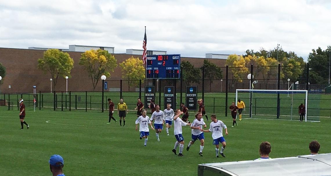 The Blue Devils' goal celebration for Parker Healy's tally. (Ben Tsujimoto/Buffalo News)