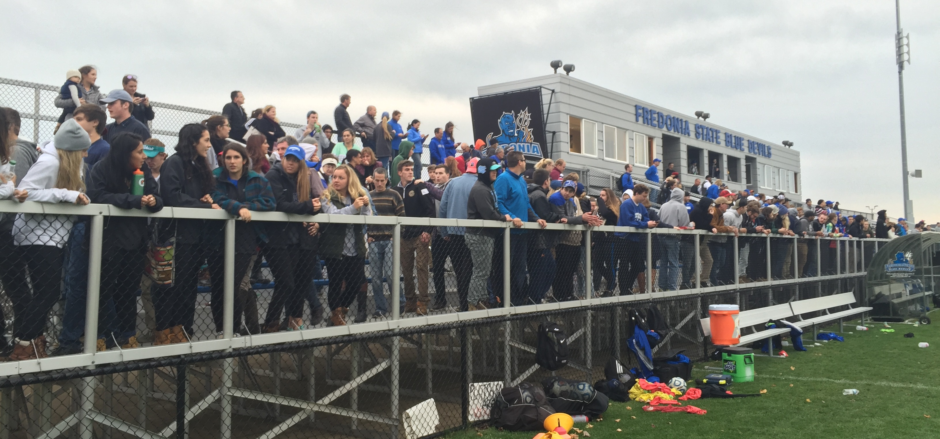 Fredonia drew over 350 people to watch the SUNYAC quarterfinal at home against Plattsburgh. (Ben Tsujimoto/Buffalo News)