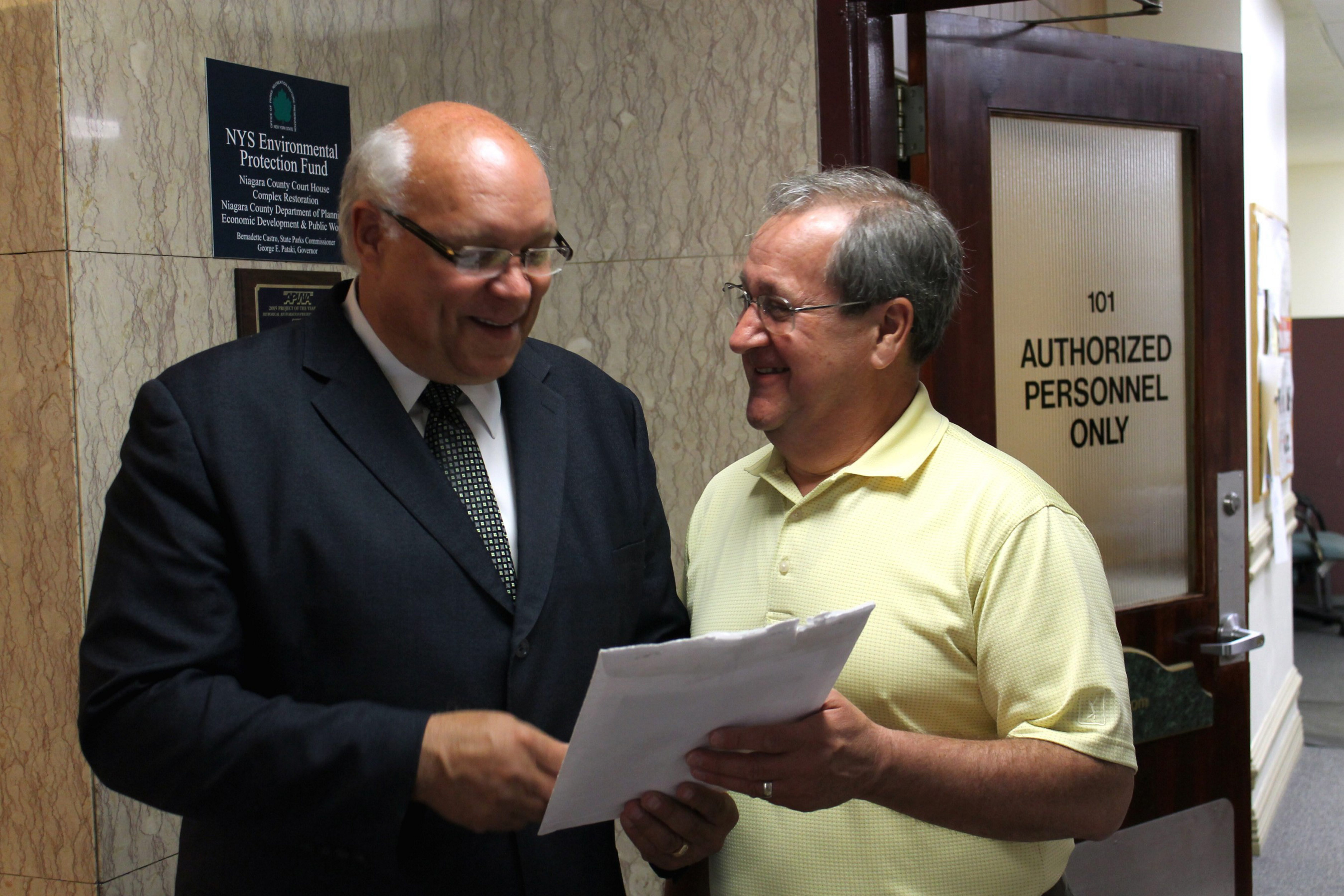 Niagara County Coroners Michael A. Ross, left, and Kenneth V. Lederhouse in a file photo from May 22, 2013.