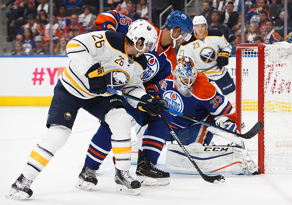 Matt Moulson was strong with the puck down low during the Sabres' road trip, like during this sequence in Edmonton (Getty Images).