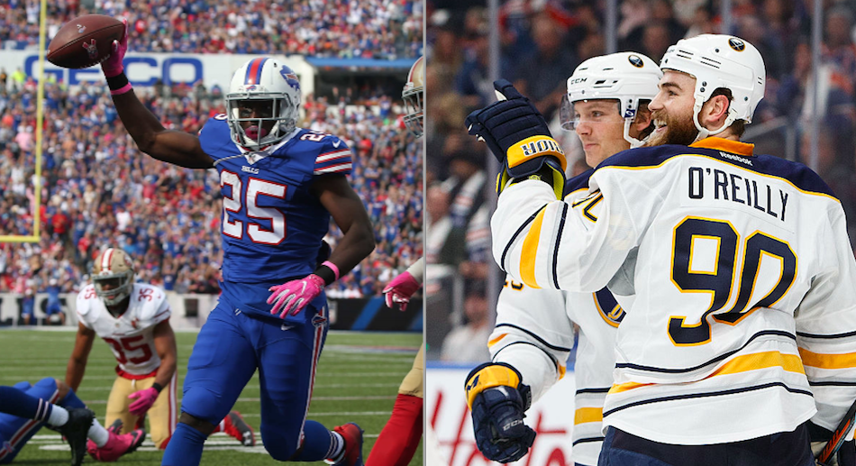 The Sabres and Bills both won big Sunday, giving Buffalo fans a rare treat. (Photos from the Buffalo News and Getty Images)