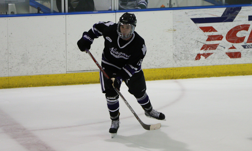 Kris Spriggs leads Atlantic Hockey rookies in scoring with six points. (Niagara Athletic Communications)