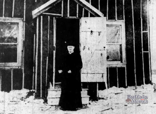 Rev. Thomas Timmons stands in front of the temporary St. Margaret's Church on Hertel Ave., 1917. Buffalo Stories archives