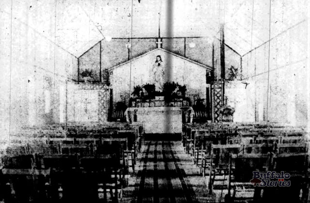 Interior of the temporary St. Margaret's Church. 1917. Buffalo Stories archives.