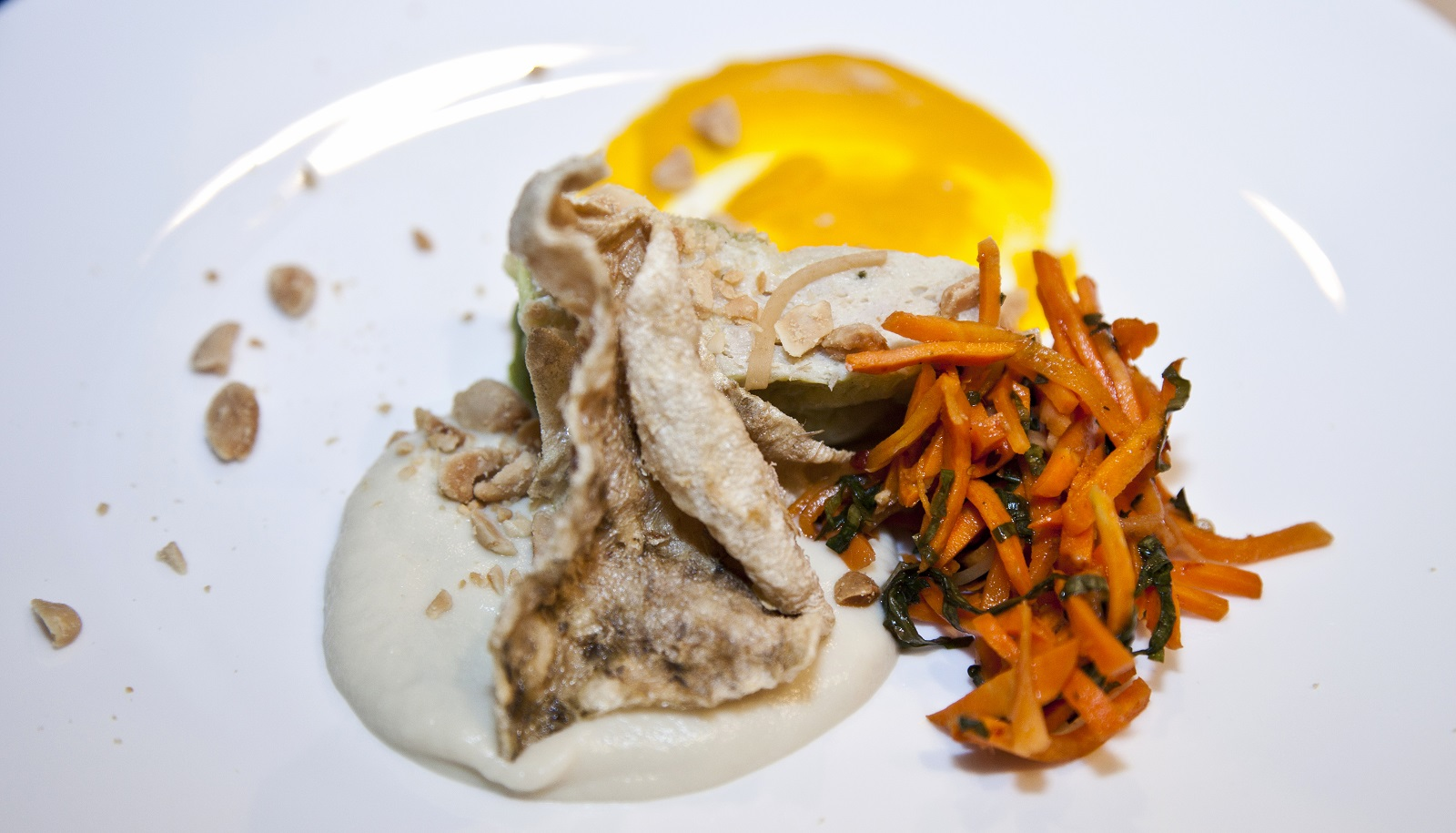 Striped bass prepared by Chef Steve Gedra of The Black Sheep, served at the James Beard House. (Rina Oh/JBH)