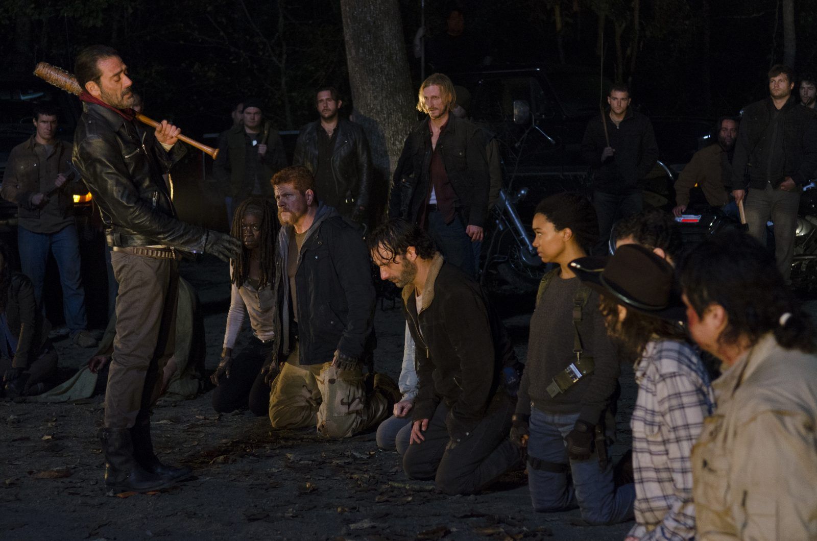In this scene from the season 6 finale of 'The Walking Dead,' Negan (Jeffrey Dean Morgan) prepares to kill one of the popular characters on the AMC series. The episode ended on a cliffhanger. (Gene Page/AMC)