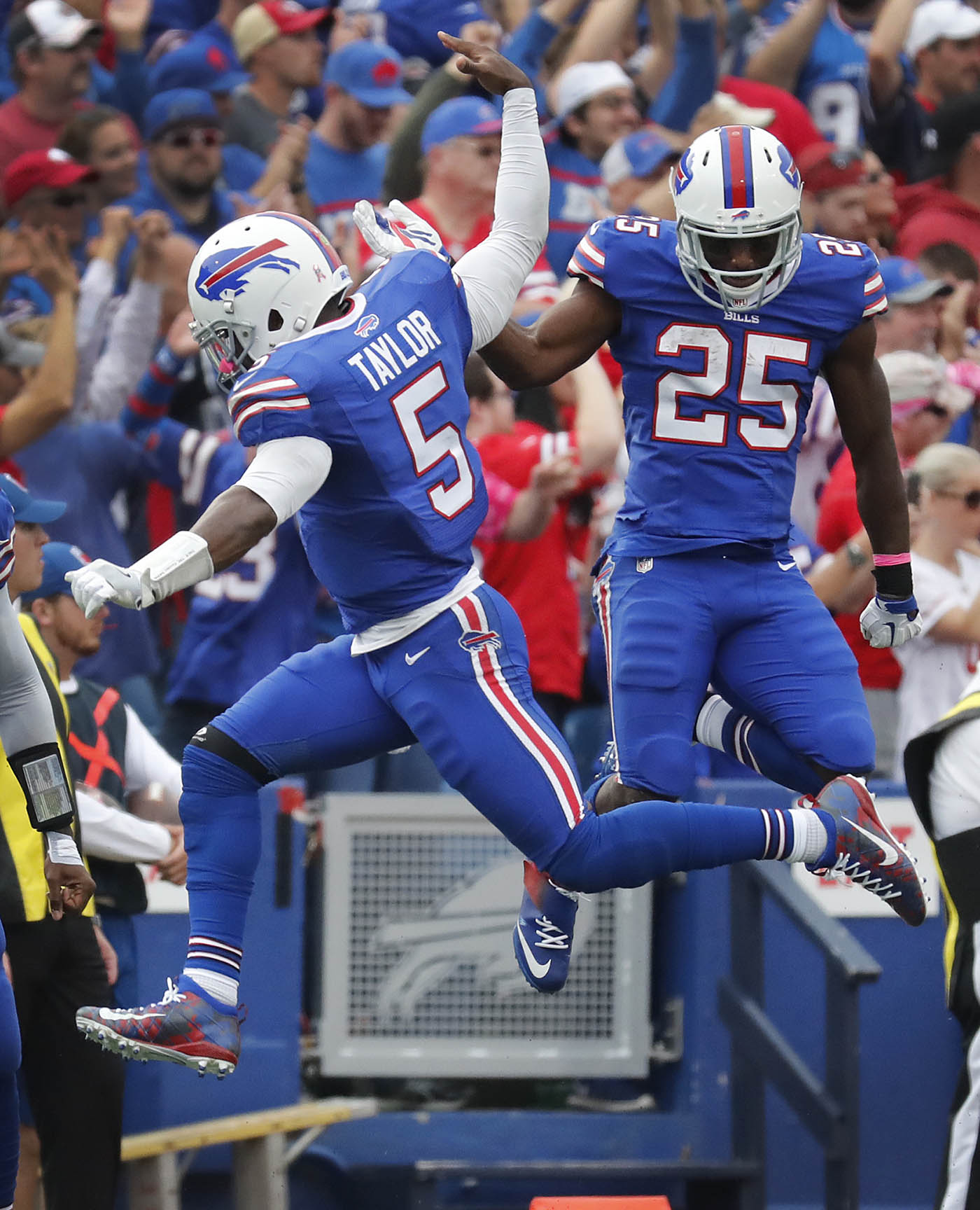 Buffalo Bills Tyrod Taylor and LeSean McCoy celebrate a Robert Woods touchdown against the San Francisco 49ers during the fourth quarter at New Era Field on Sunday, Oct. 16, 2016. (Harry Scull Jr./Buffalo News)