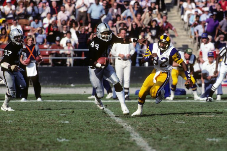 It was the Battle of Los Angeles when the city's two franchises, the Raiders and the Rams, met up on Dec. 18, 1982 in the Los Angeles Memorial Coliseum. The Raiders won 37-31. (Getty Images)