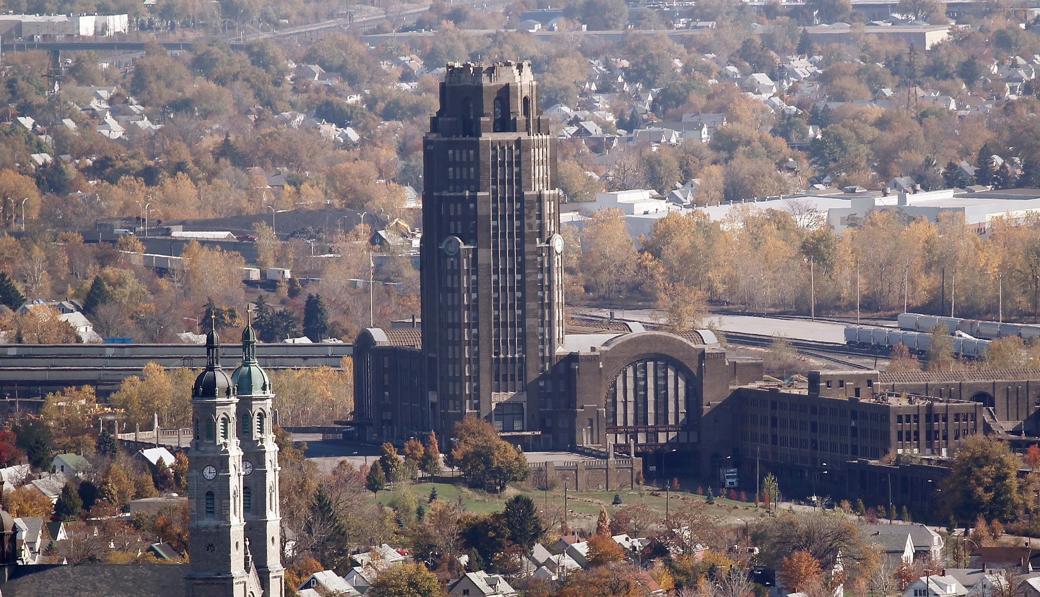 An aerial view of the Central Terminal in Buffalo's Broadway-Fillmore neighborhood. (Harry Scull Jr./Buffalo News)
