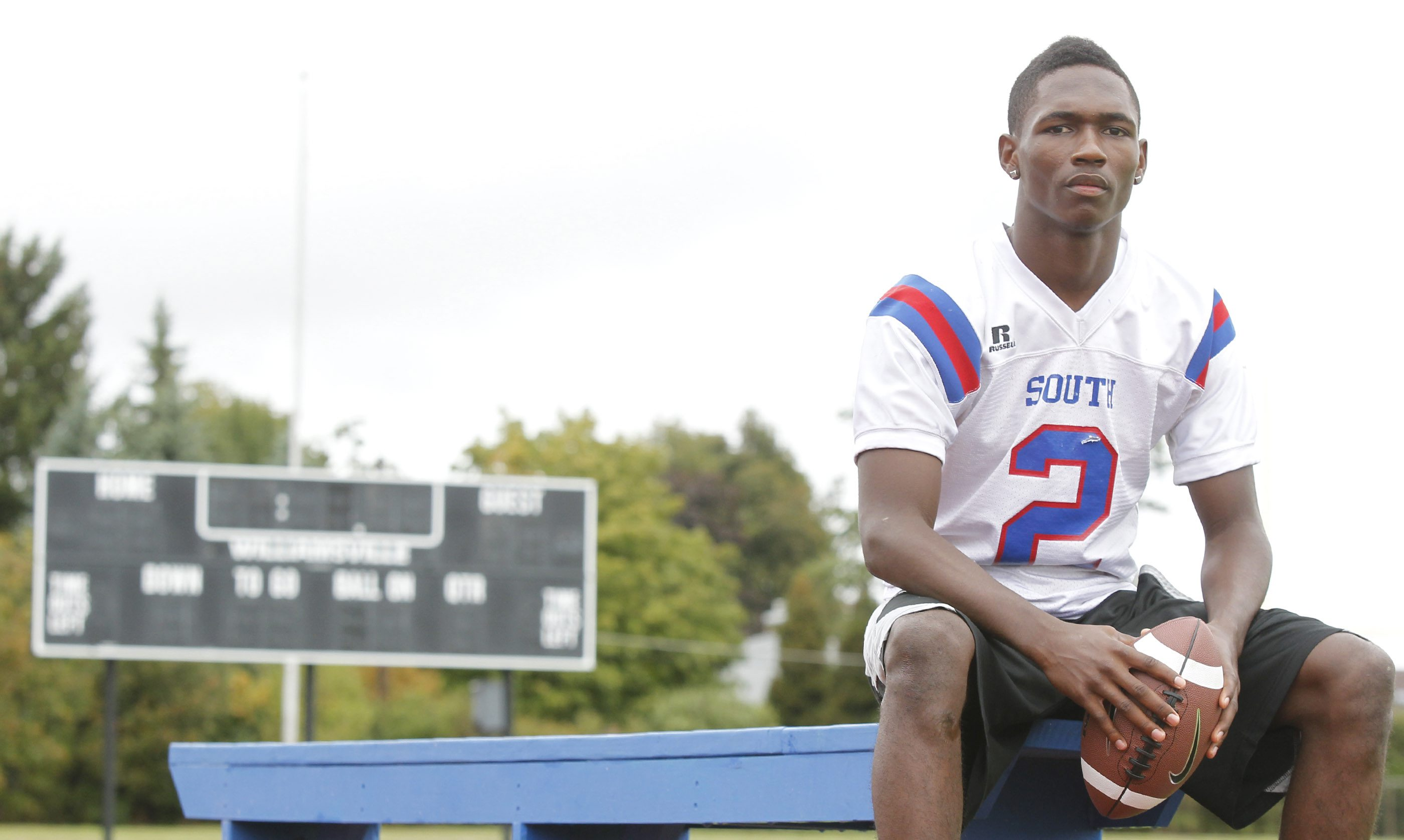 Chaquiel Nettles, a Williamsville South football player in 2012. Nettles was considered a homeless student. {Photo by Harry Scull Jr. / Buffalo News}