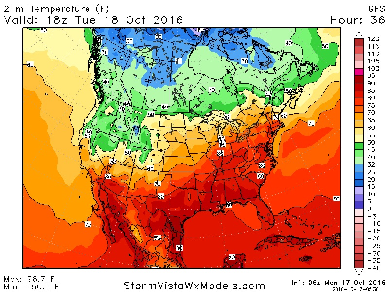 Temperatures across Western New York could reach 80 degrees or more on Tuesday. (StormVistaWxModels.com)
