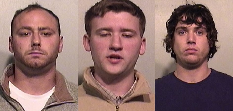 Left to right, James Lauzau, Patrick Stevens and Colton Sherman, who have each been charged in a February burglary in Porter. (Niagara County Sheriff's Office)