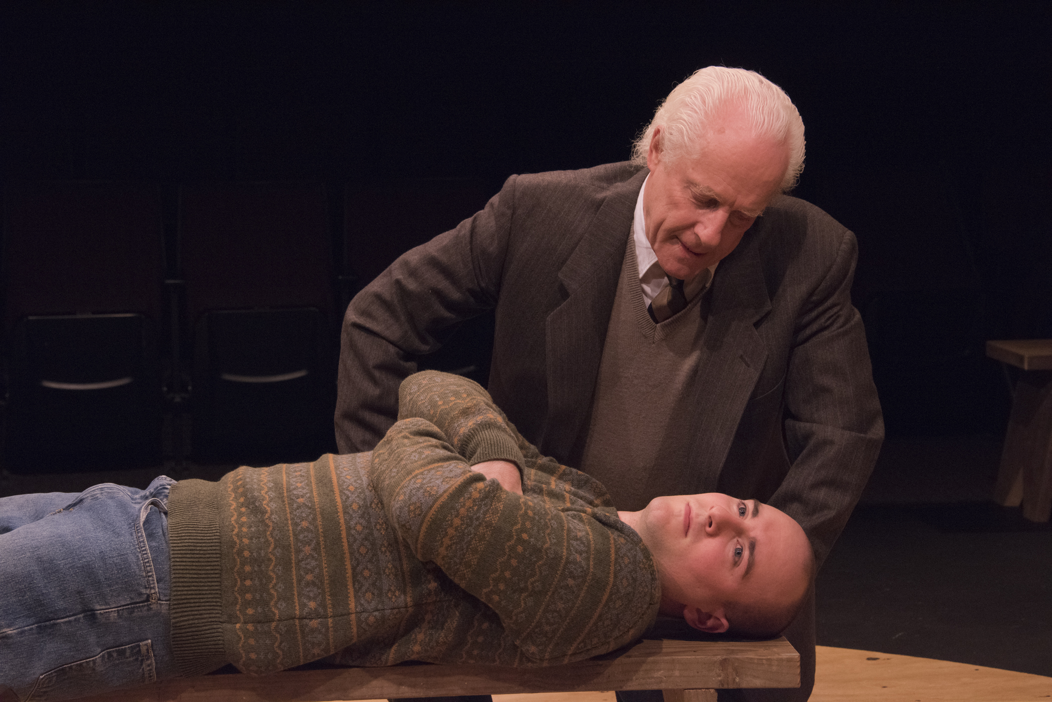 "P.J. Tighe (supine) and Vincent O'Neill star in the irish Classical Theatre Company's production of ""Equus."""