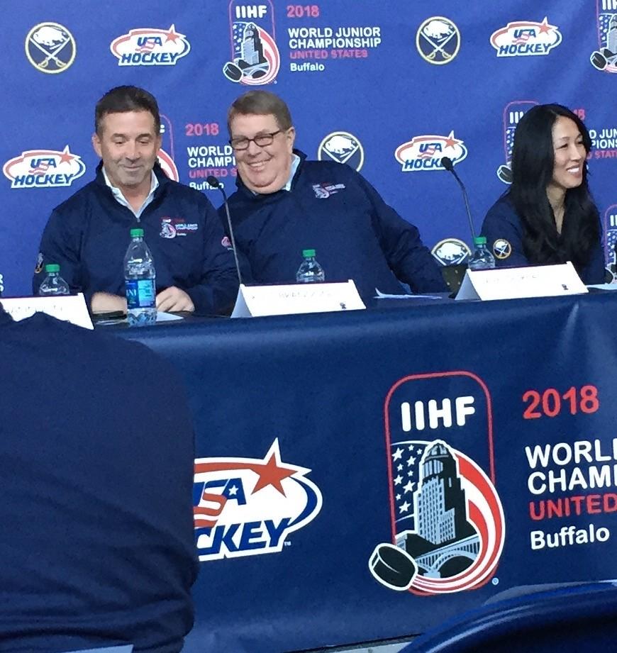 Sabres President Russ Brandon, left, and owner Kim Pegula joined USA Hockey's Dave Ogrean to announce world juniors details.