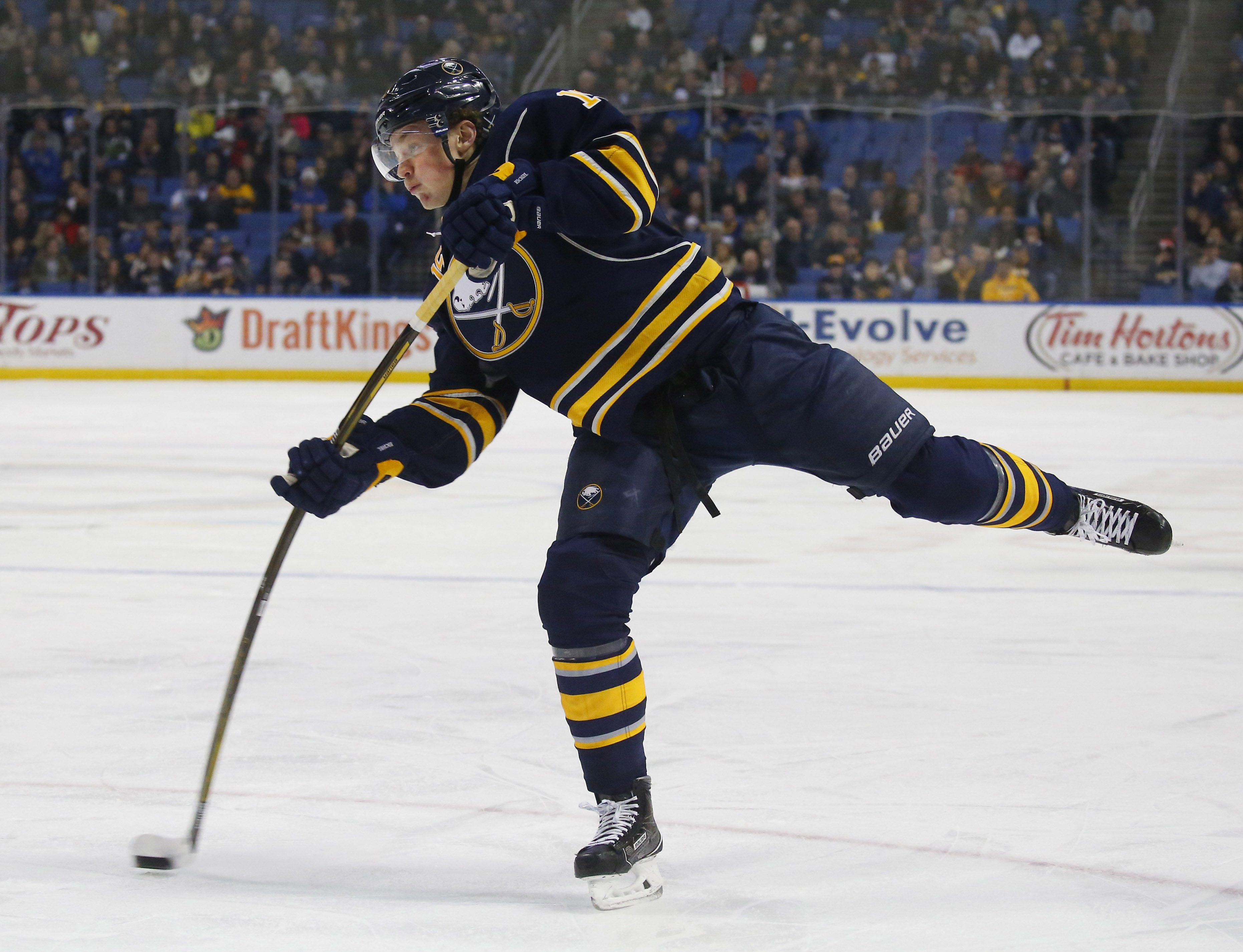 Jack Eichel rips a shot in the first period at First Niagara Center in Buffalo Monday, Nov. 23, 2015.  (Mark Mulville/Buffalo News)