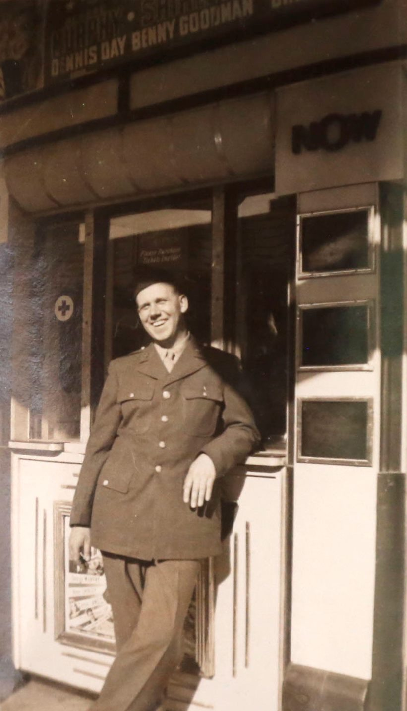 1940s picture of World War II Army Air Corps vet Edward H. Kaczmarek at his Depew home on Friday, Oct. 7, 2016. (Robert Kirkham/Buffalo News)