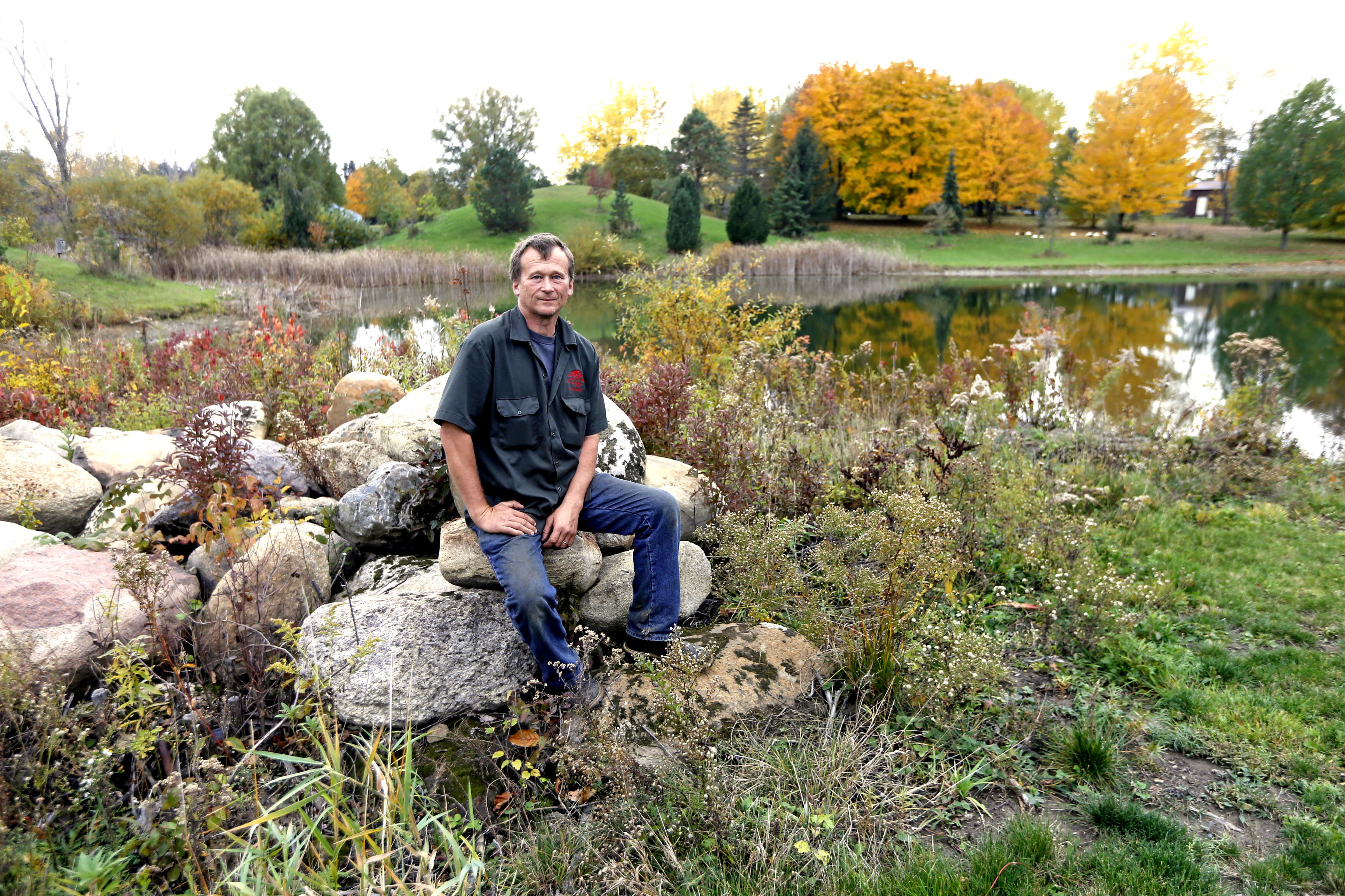 Arborist Tom Draves in his paradise onWednesday, Nov. 2, 2016. Local arborist Tom Draves recently had his arboretum in Darien Lake area approved as an accredited U.S. arboretum. It's an exciting honor and big news in the tree world. (Robert Kirkham/Buffalo News)