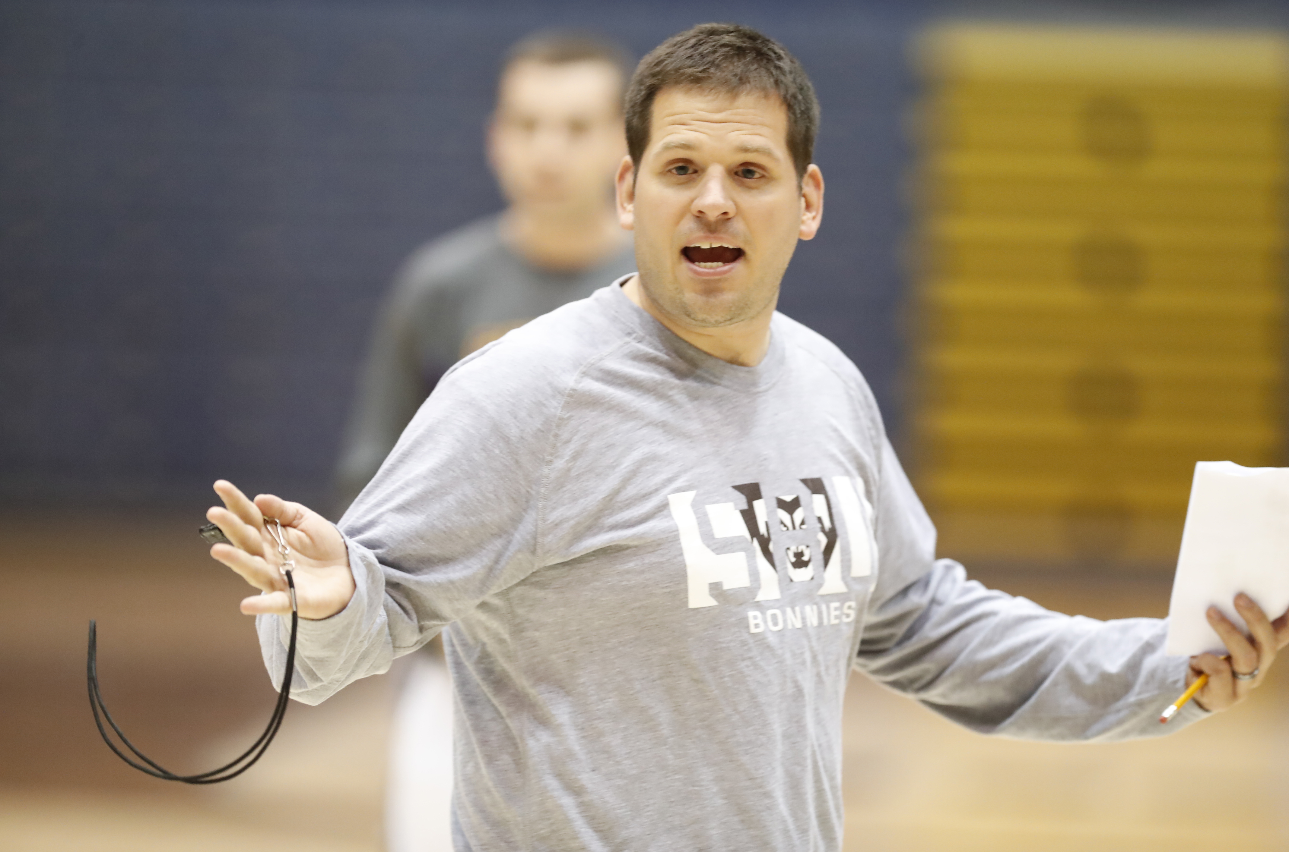 St. Bonaventure's women's basketball coach Jesse Fleming during practice on Monday, Nov. 7, 2016. (Harry Scull Jr./Buffalo News)