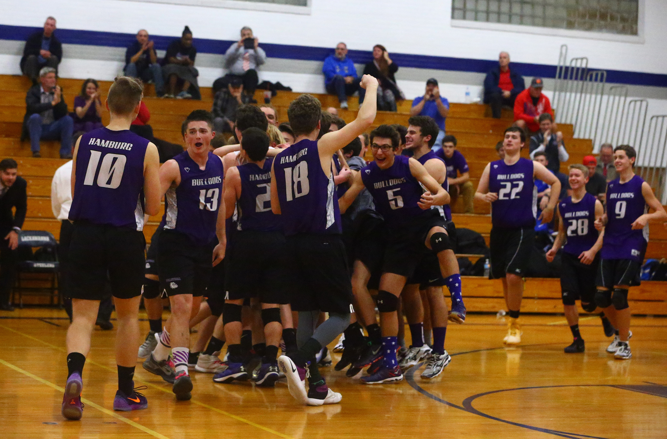 Hamburg celebrates its sweep of Sweet Home in the Section VI Division II-A final (John Hickey/Buffalo News)